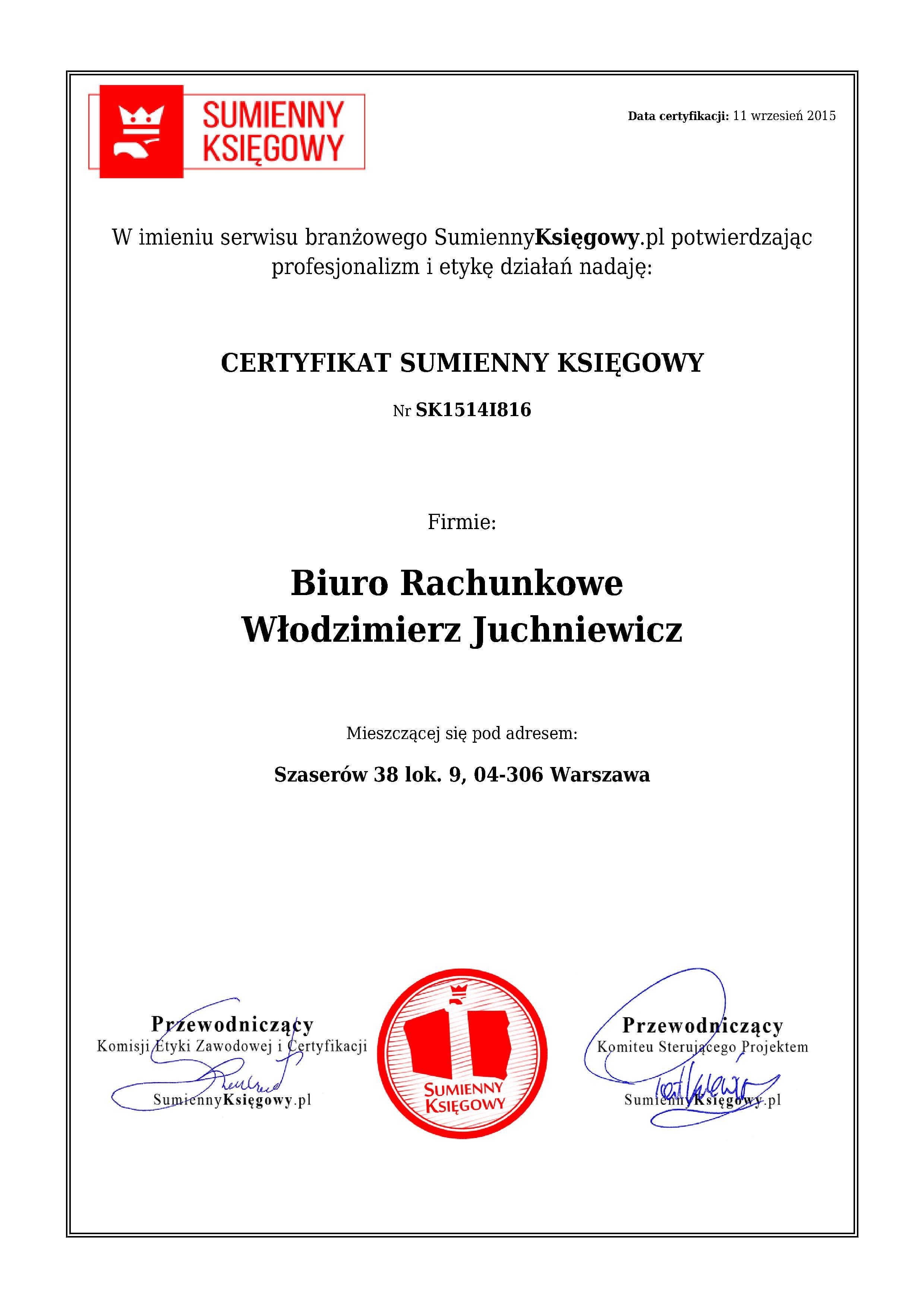 Certyfikat Biuro RachunkoweWłodzimierz Juchniewicz