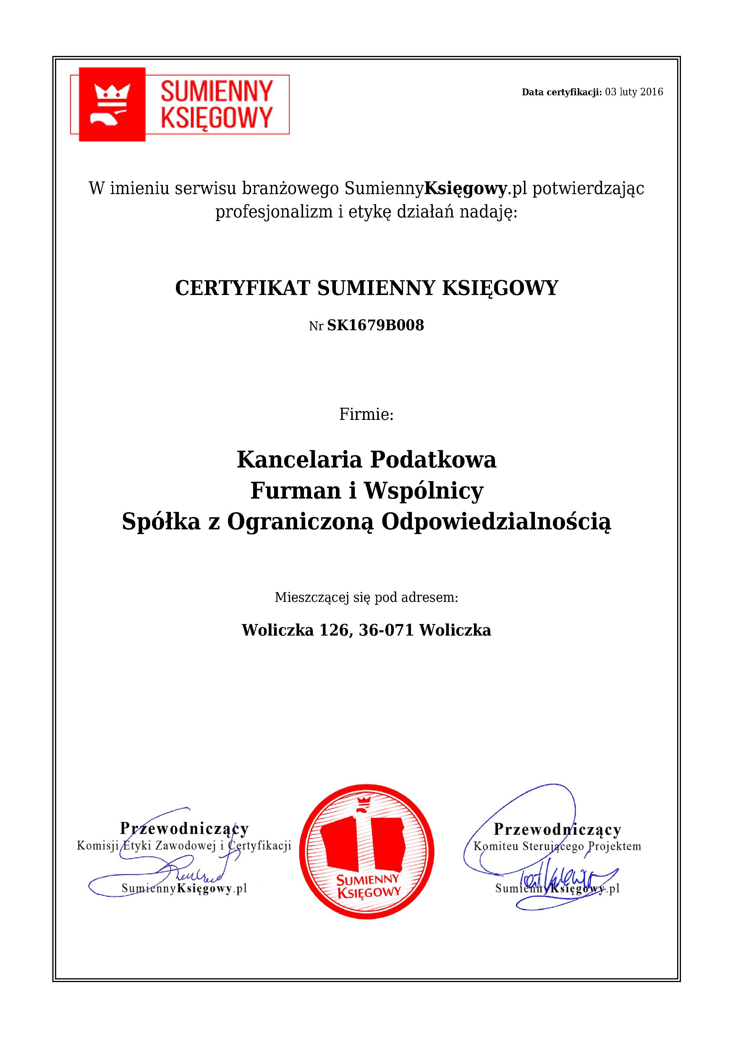 Certyfikat Kancelaria Podatkowa Furman i Wspólnicy Spółka z Ograniczoną Odpowiedzialnością