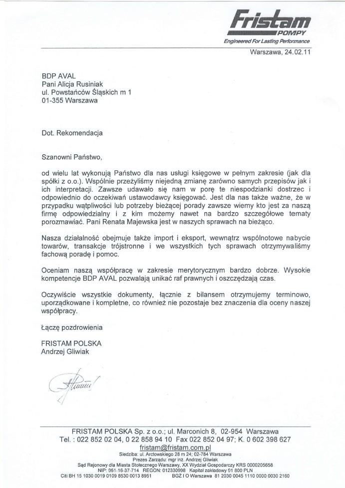 Referencje Biuro Doradztwa Podatkowego Aval Alicja Rusiniak