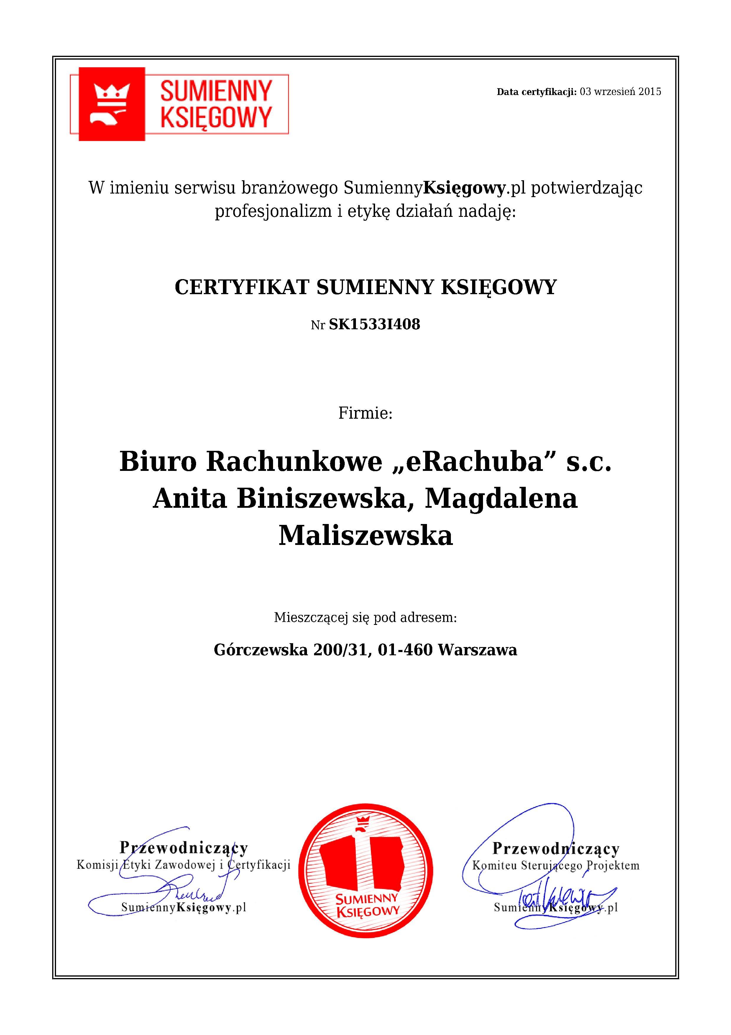 "Certyfikat Biuro Rachunkowe ""eRachuba"" s.c. Anita Biniszewska, Magdalena Maliszewska"