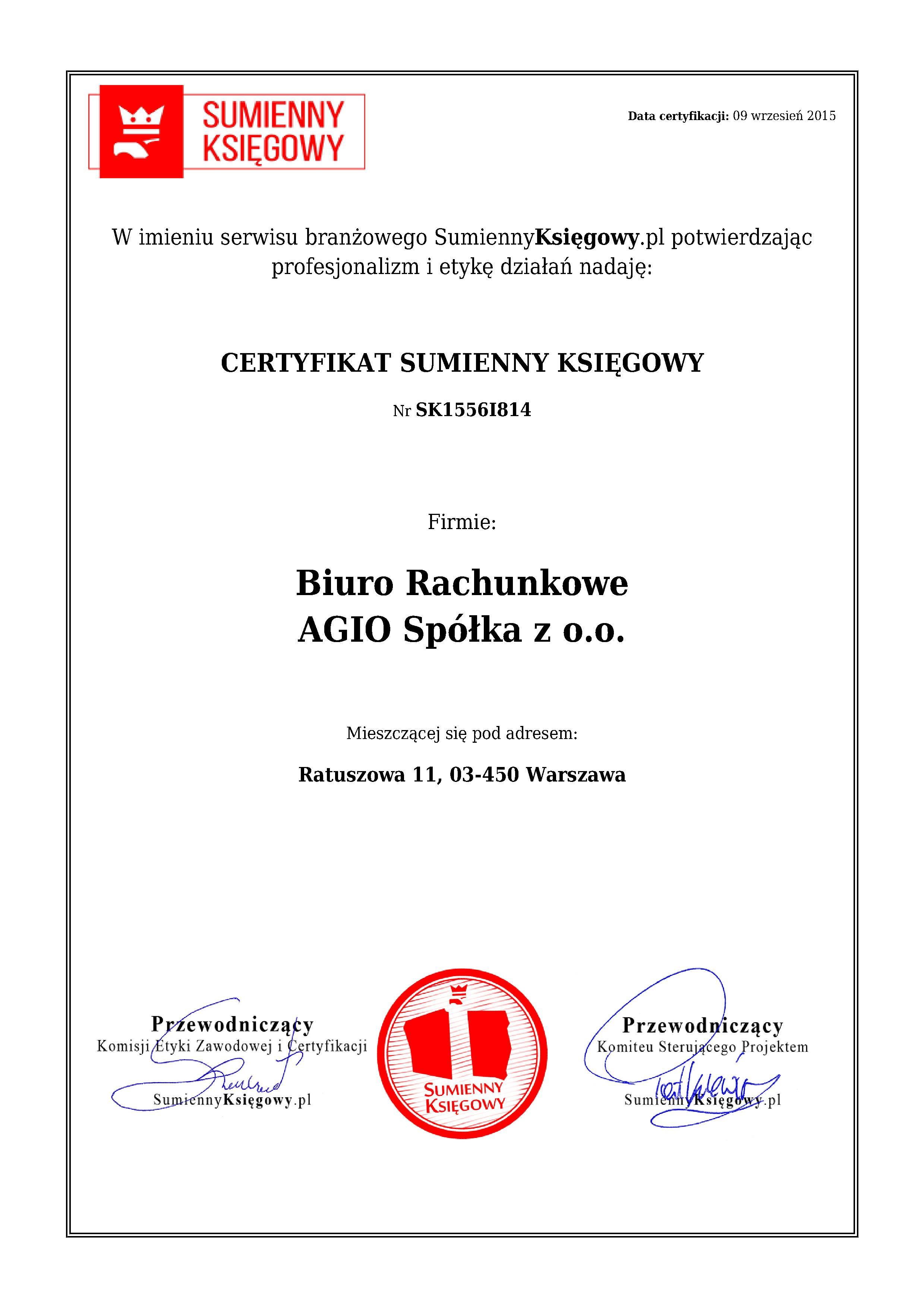 Certyfikat Biuro Rachunkowe AGIO Spółka z o.o.