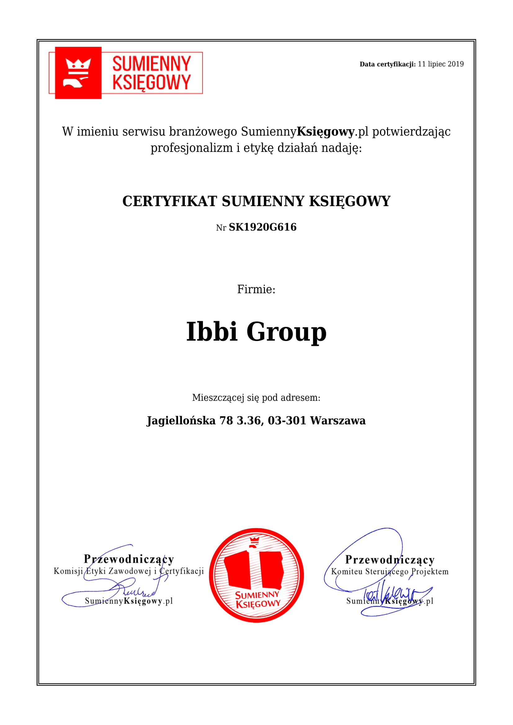 Certyfikat Ibbi Group
