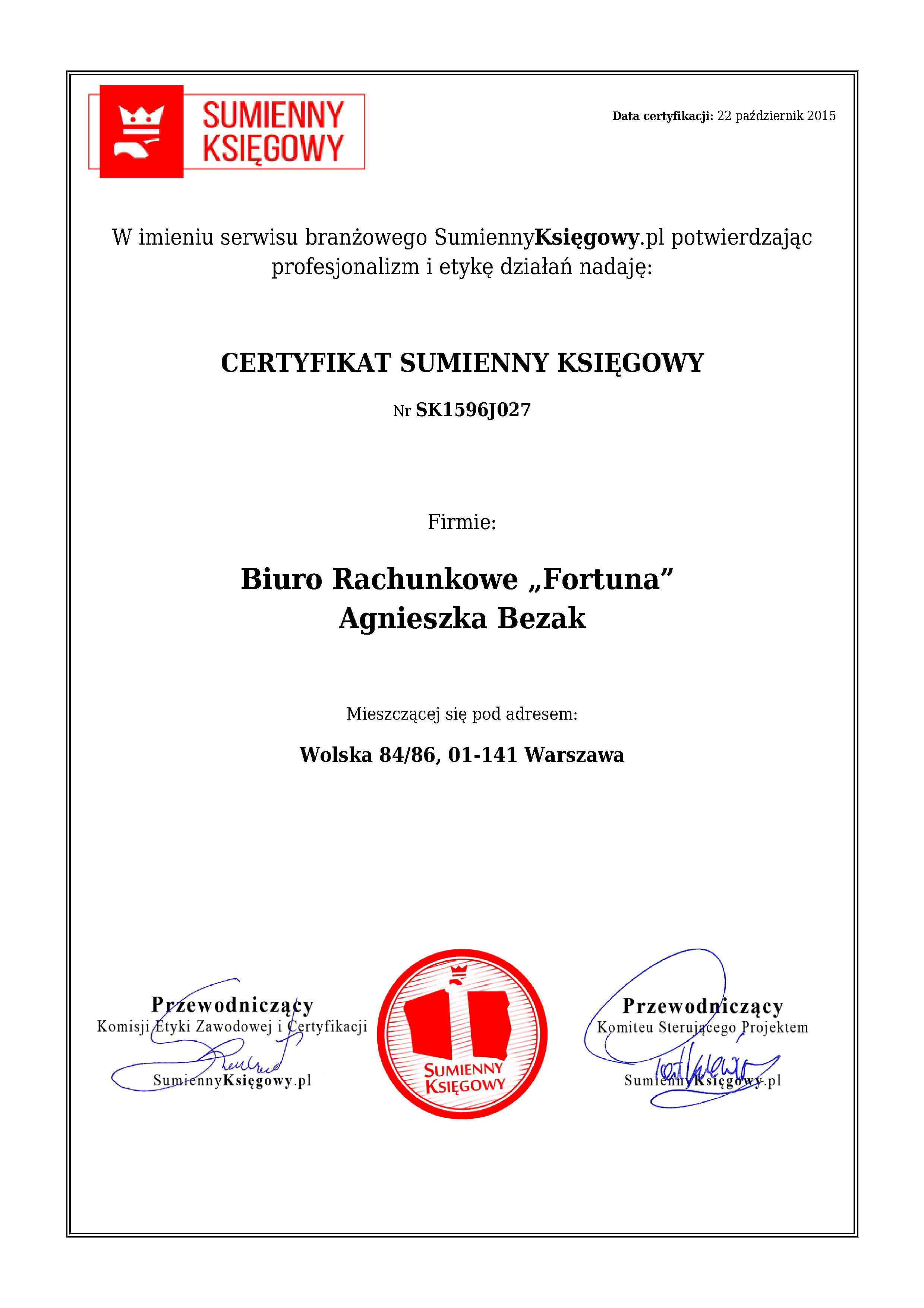 """Certyfikat Biuro Rachunkowe """"Fortuna""""Agnieszka Bezak"""