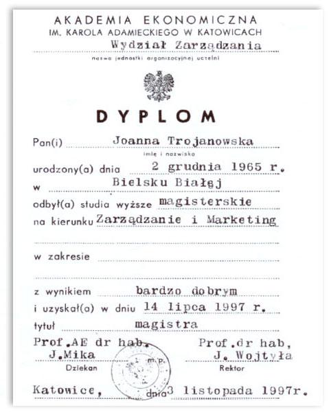 Certyfikat Biuro Podatkowe Joanna Trojanowska