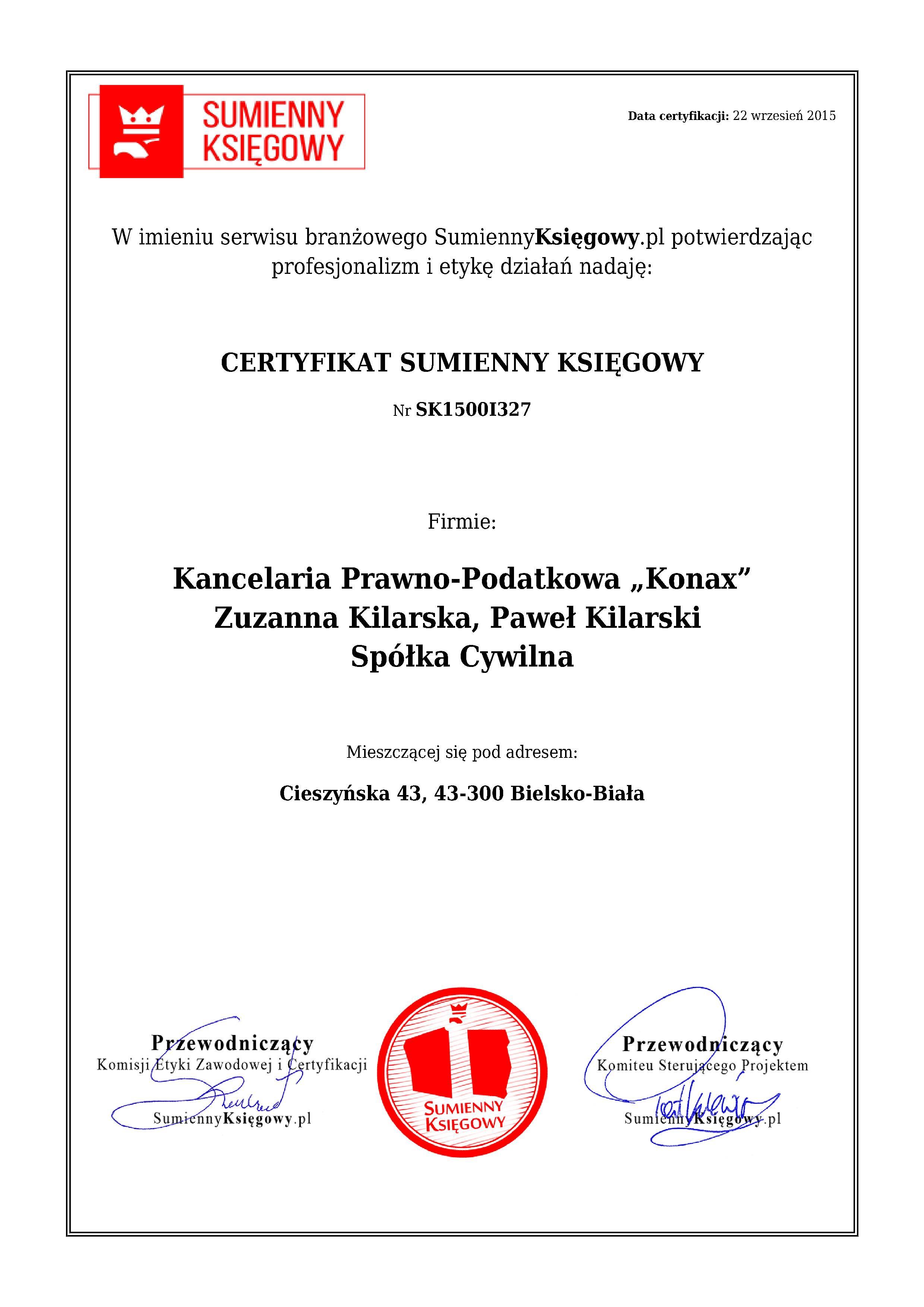 """Certyfikat Kancelaria Prawno-Podatkowa """"Konax"""" Zuzanna Kilarska, Paweł KilarskiSpółka Cywilna"""