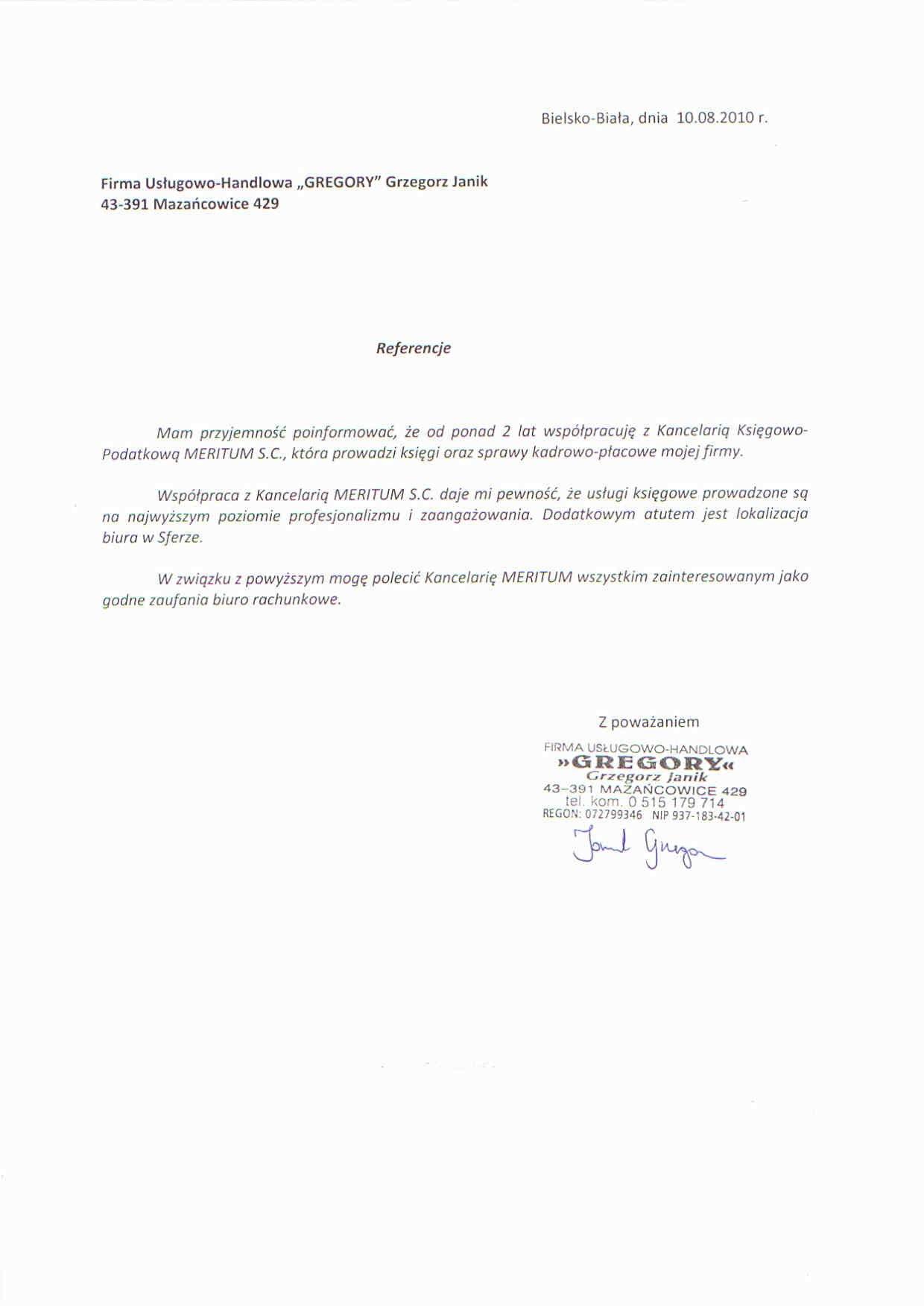 Zobacz referencje Kancelaria Księgowa Meritumm Sp. z o.o.
