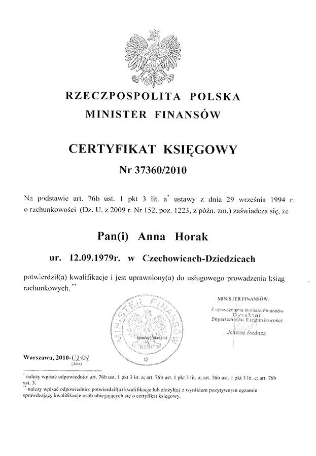 Certyfikat Kancelaria Rachunkowo-Podatkowa Kocurek & Gacek i Wspólnicy Sp. z o.o.
