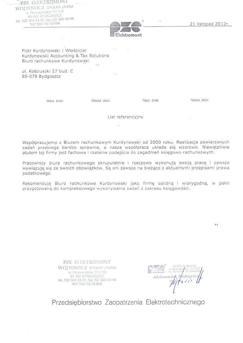"""Zobacz referencje Biuro Rachunkowe """"Kurdynowski"""" Piotr Kurdynowski"""