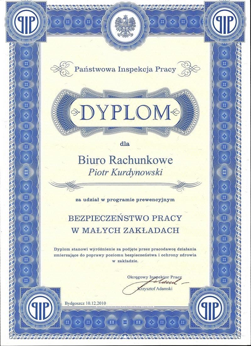 """Certyfikat Biuro Rachunkowe """"Kurdynowski"""" Piotr Kurdynowski"""