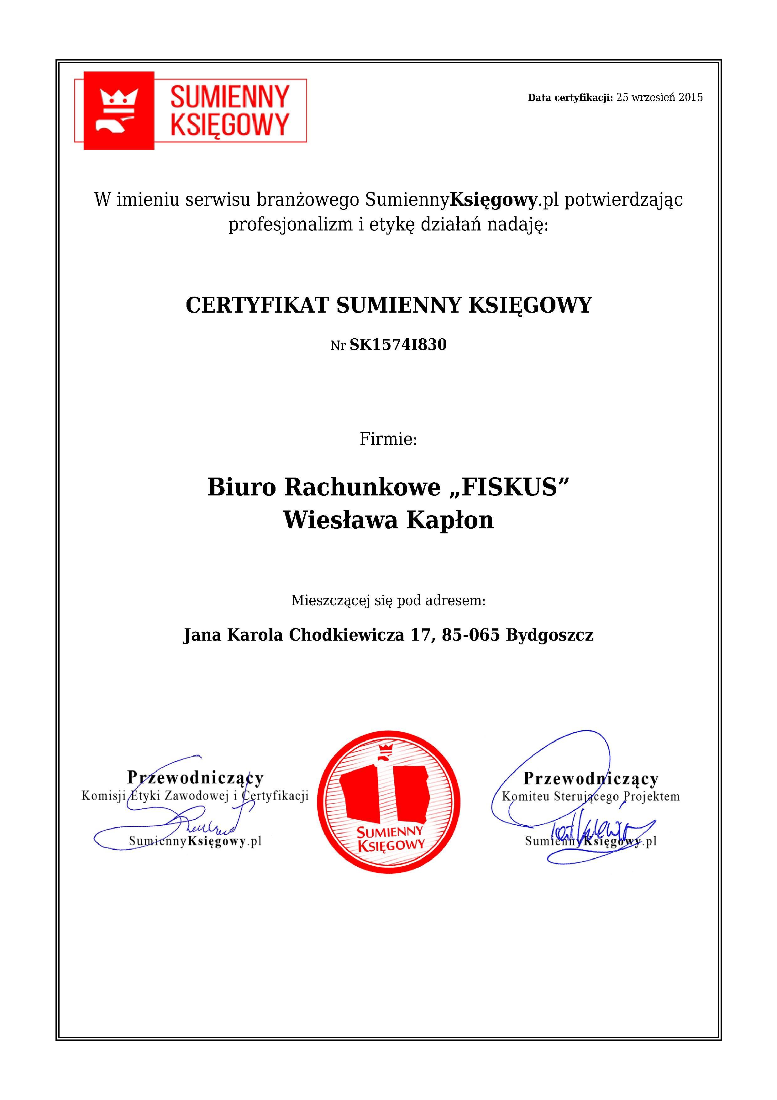 """Certyfikat Biuro Rachunkowe """"FISKUS"""" Wiesława Kapłon"""
