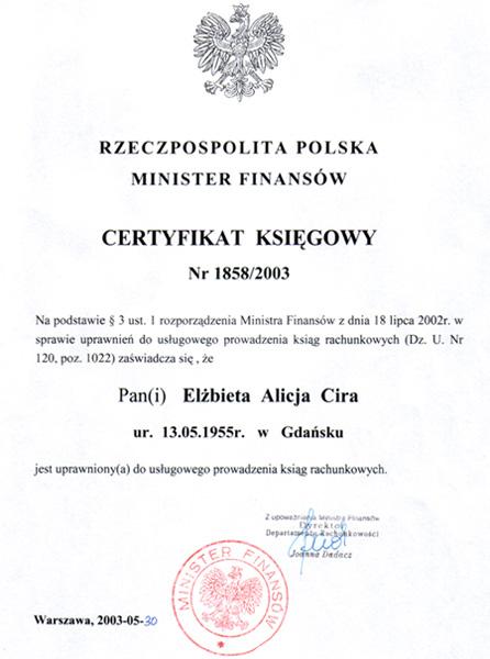 Certyfikat Kancelaria Doradztwa Podatkowego Biuro RachunkoweElżbieta Cira
