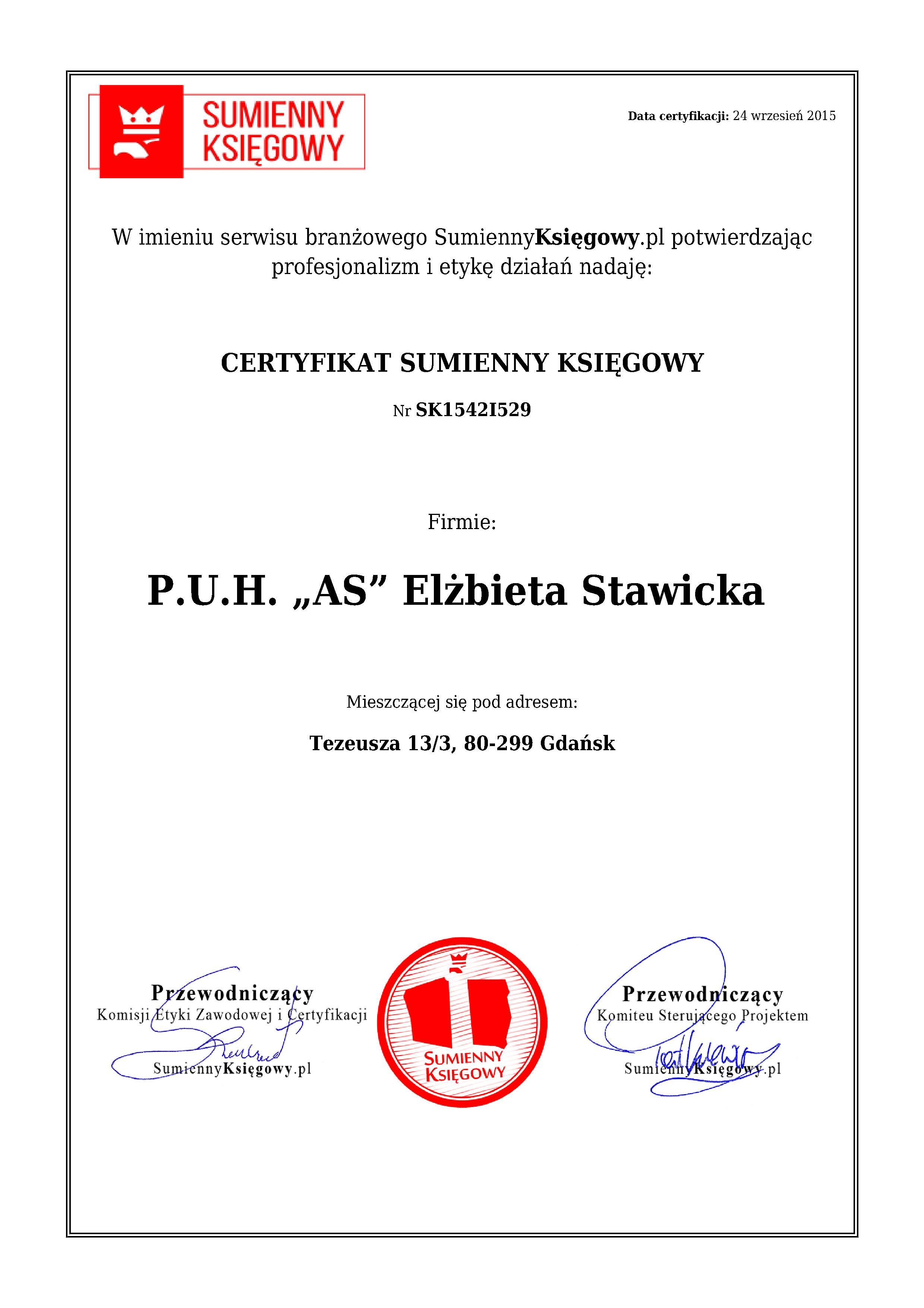 """Certyfikat P.U.H. """"AS""""  Elżbieta Stawicka"""