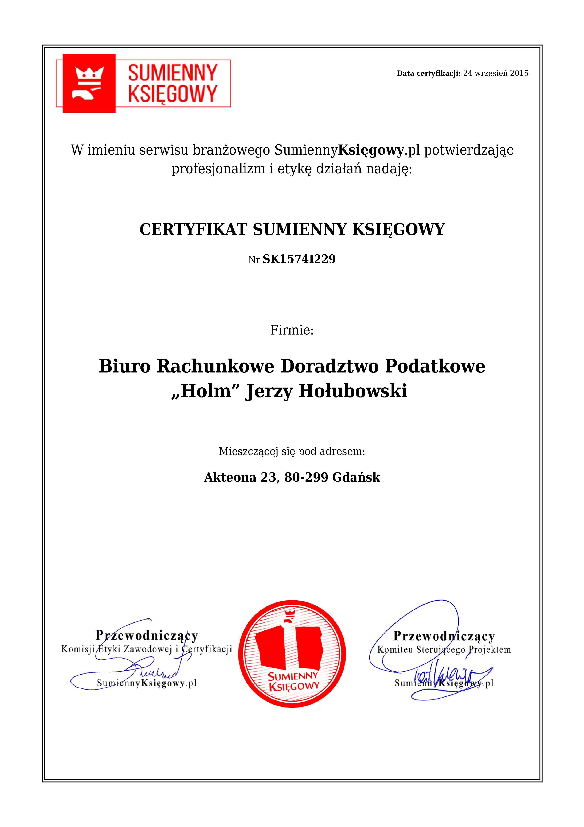 """Certyfikat Biuro Rachunkowe, Doradztwo Podatkowe """"Holm"""" Jerzy Hołubowski"""