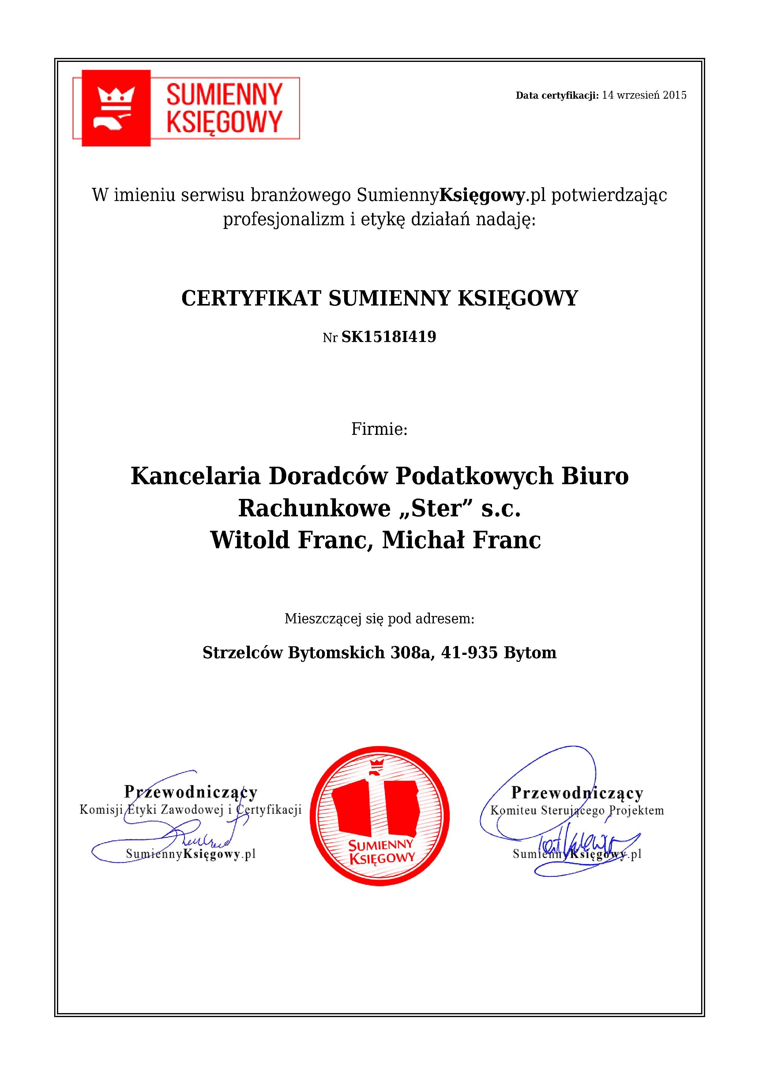 """Certyfikat Kancelaria Doradców Podatkowych Biuro Rachunkowe """"Ster"""" s.c. Witold Franc, Michał Franc"""