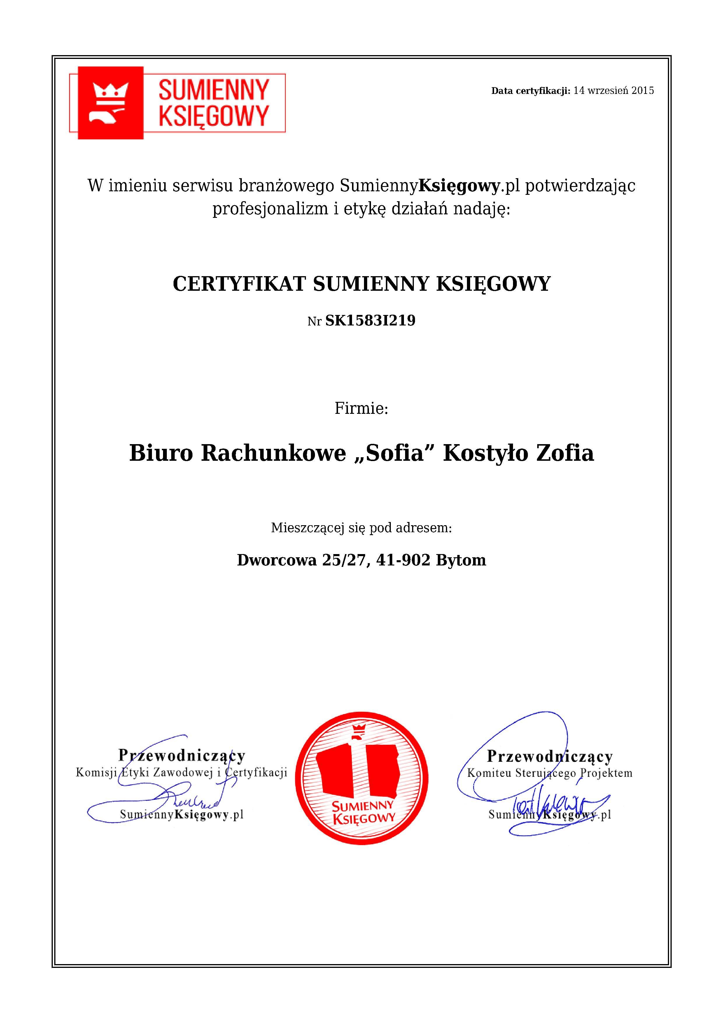 """Certyfikat Biuro Rachunkowe """"Sofia"""" KostyłoZofia"""