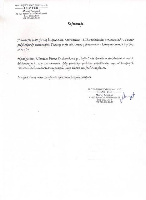 """Zobacz referencje Biuro Rachunkowe """"Sofia"""" KostyłoZofia"""