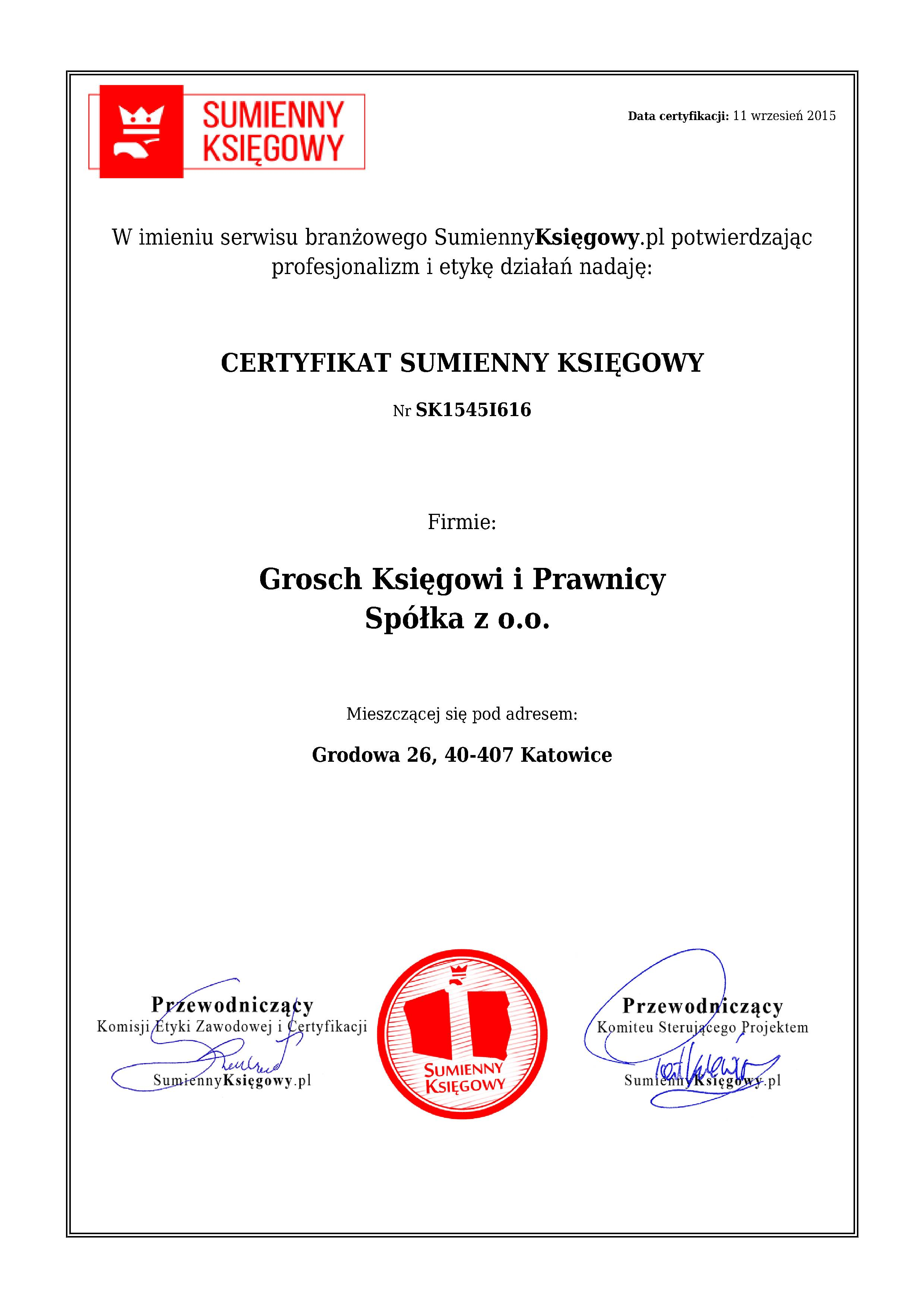 Certyfikat Grosch Księgowi i Prawnicy Spółka z o.o.