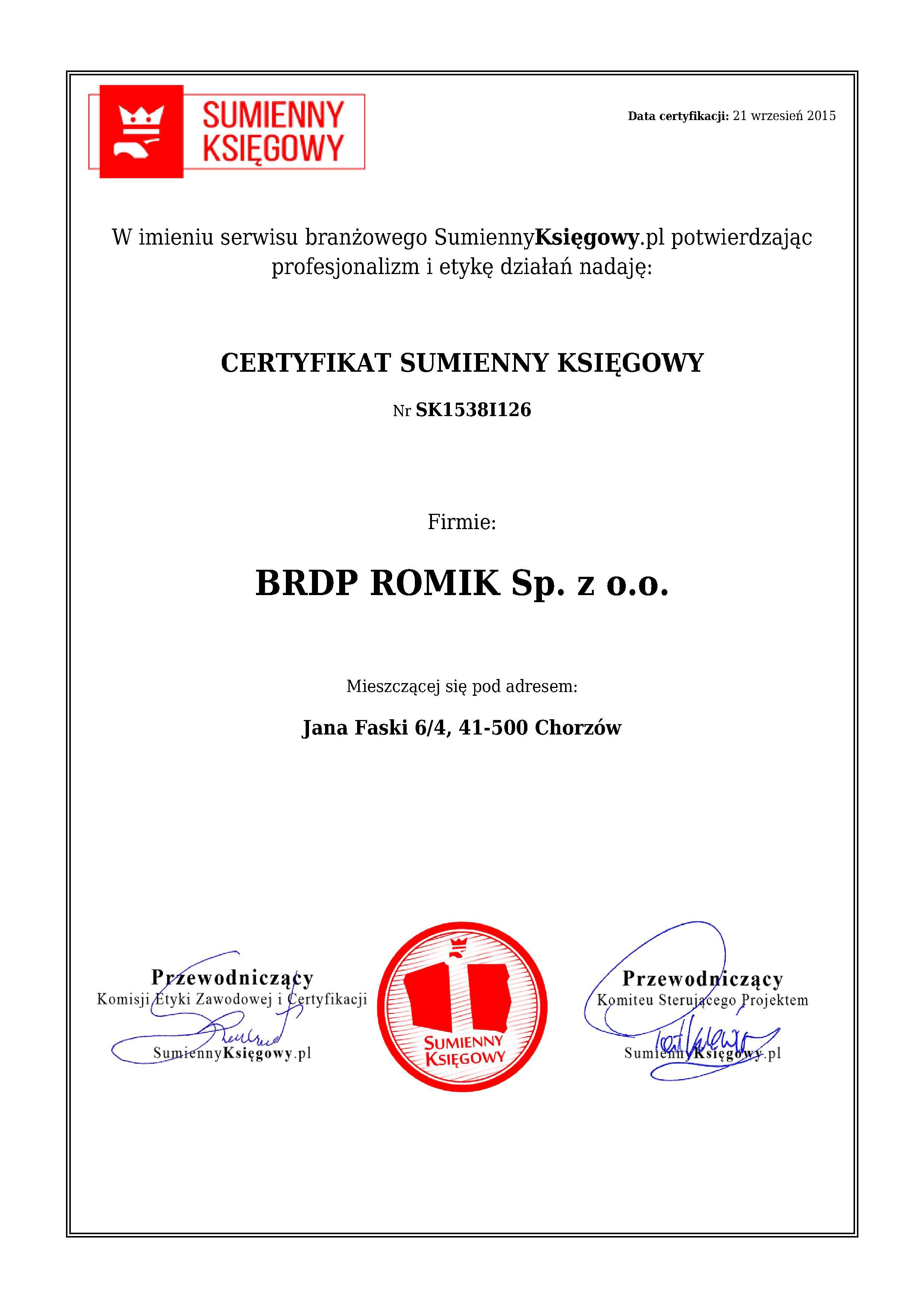 Certyfikat BRDP ROMIK Sp. z o.o.