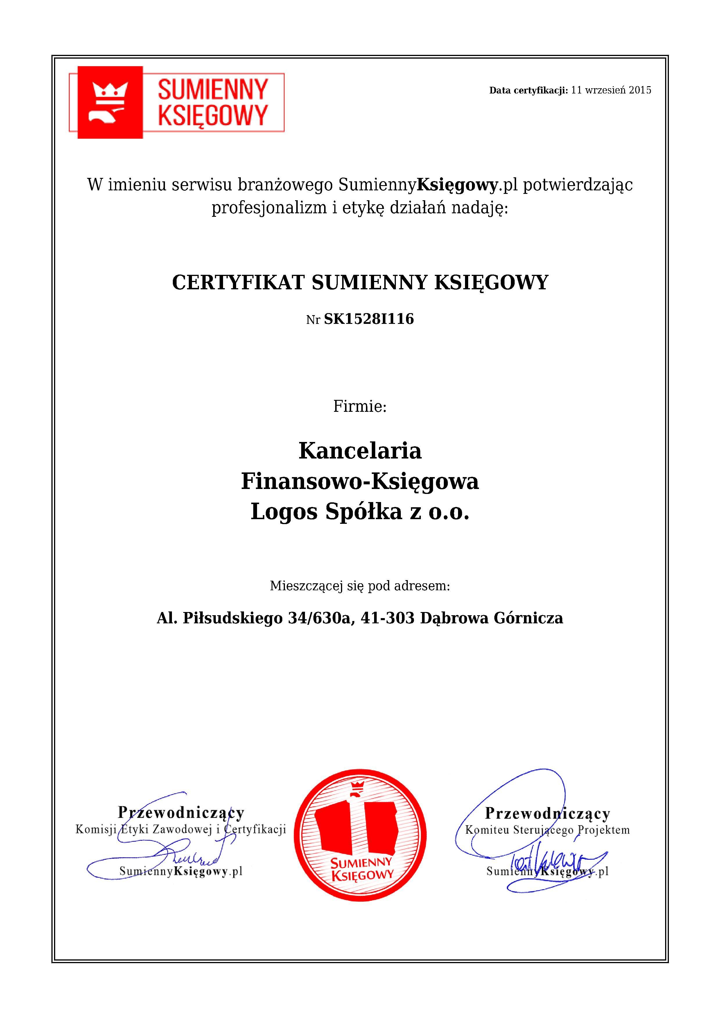 Certyfikat Kancelaria Finansowo-Księgowa Logos Spółka z o.o.