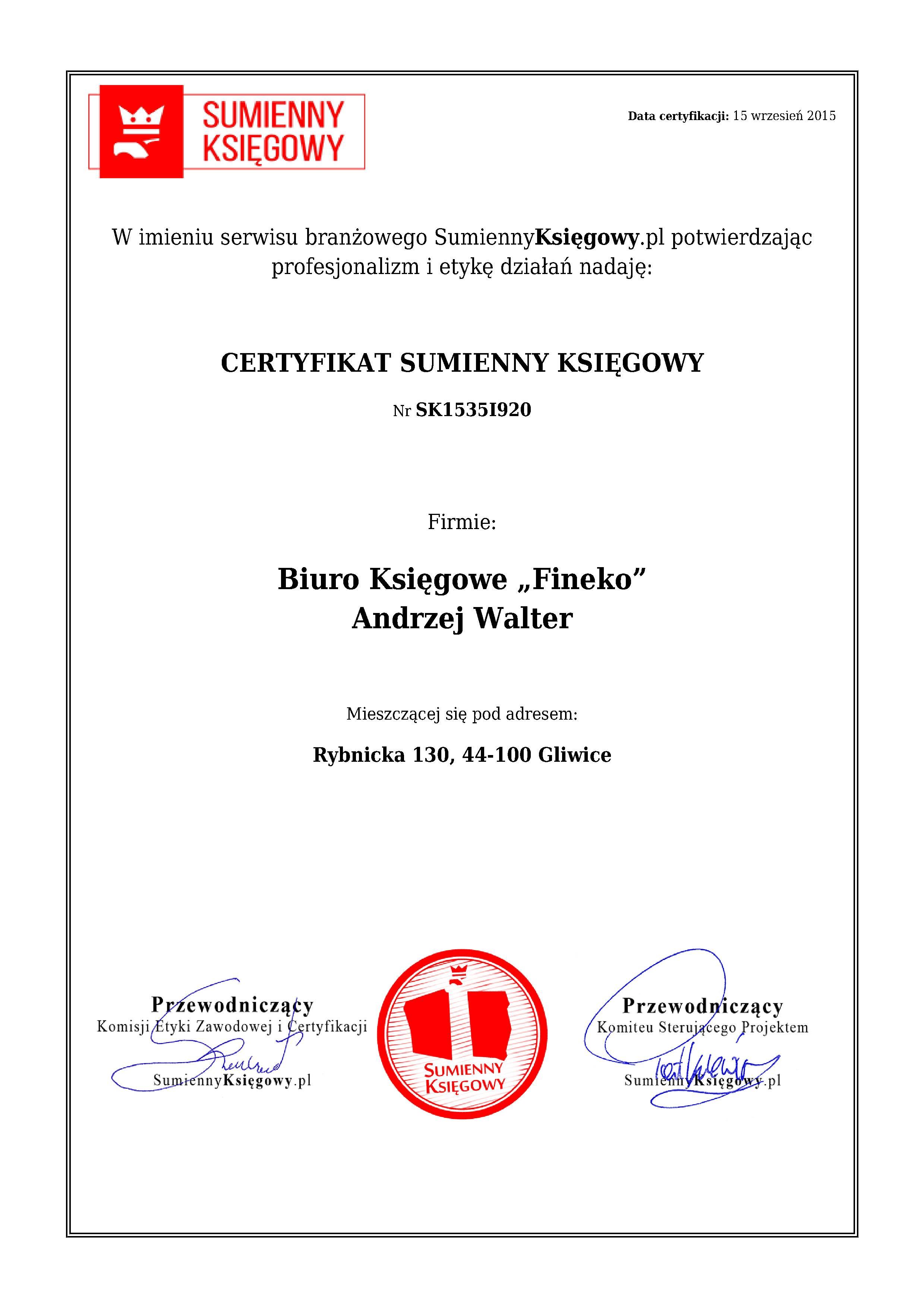 """Certyfikat Biuro Księgowe """"Fineko"""" Andrzej Walter"""