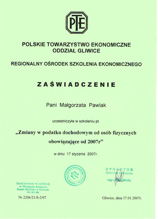 Certyfikat Biuro Rachunkowe BRG Małgorzata Pawlak