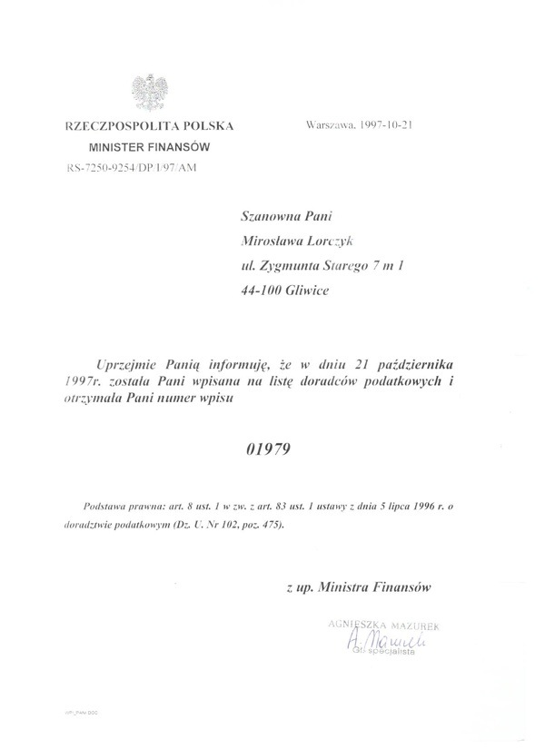 """Certyfikat """"Sukurs"""" Spółka Cywilna Doradztwo Podatkowe i Prawne Mirosława Lorczyk Robert Lorczyk"""