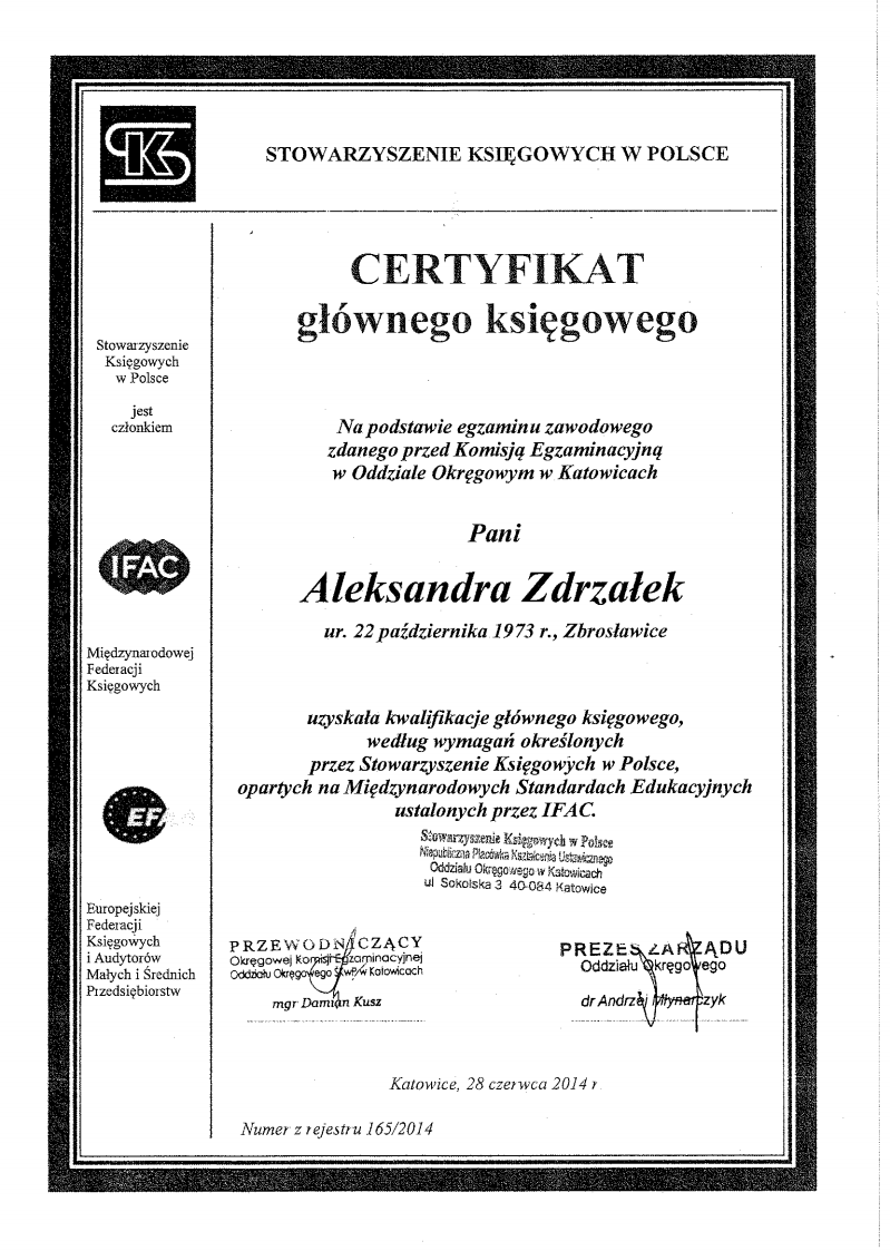Certyfikat AEGERIA Biuro Rachunkowe Aleksandra Zdrzałek