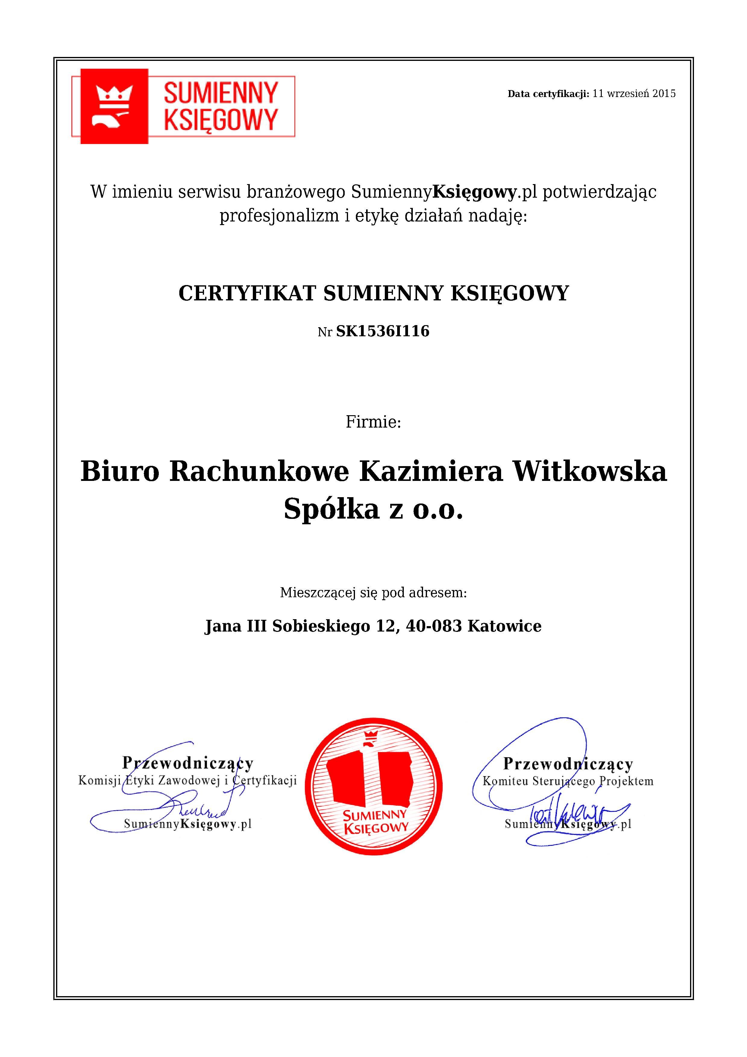 Certyfikat Biuro Rachunkowe Kazimiera Witkowska Spółka z o.o.