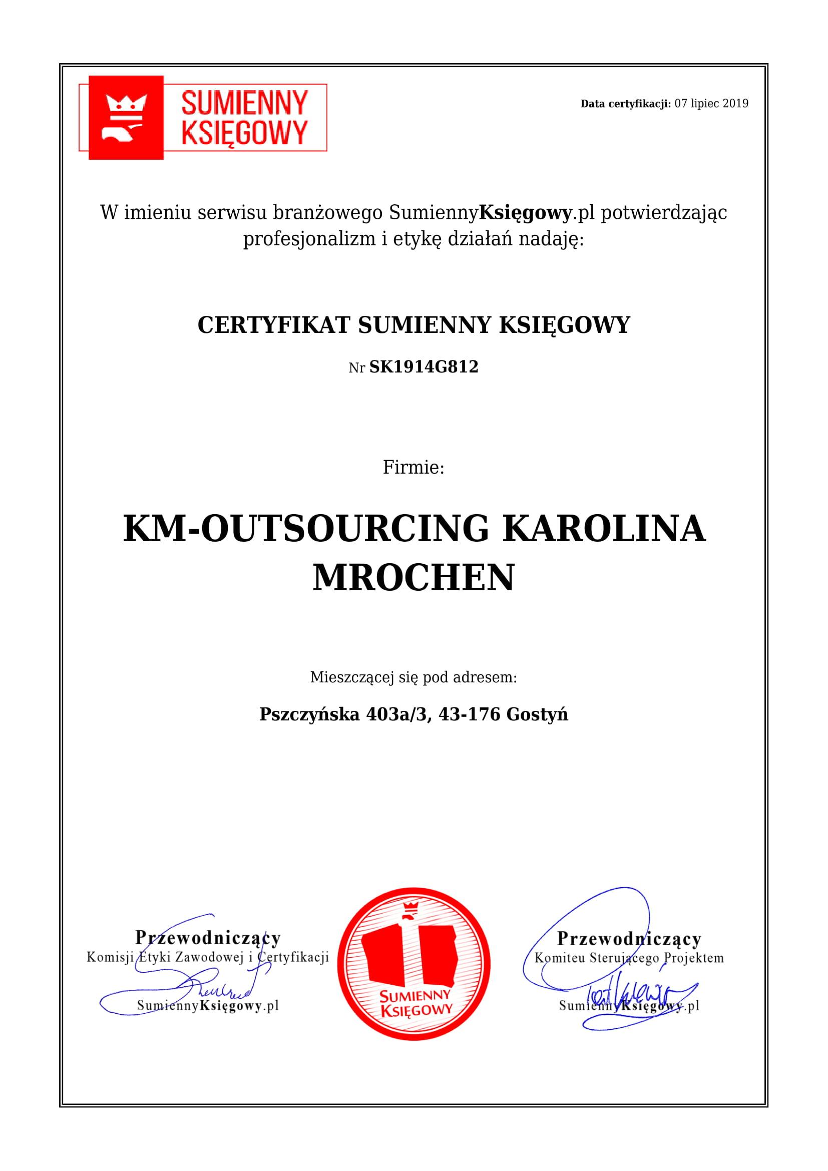 Certyfikat KM-OUTSOURCING KAROLINA MROCHEN