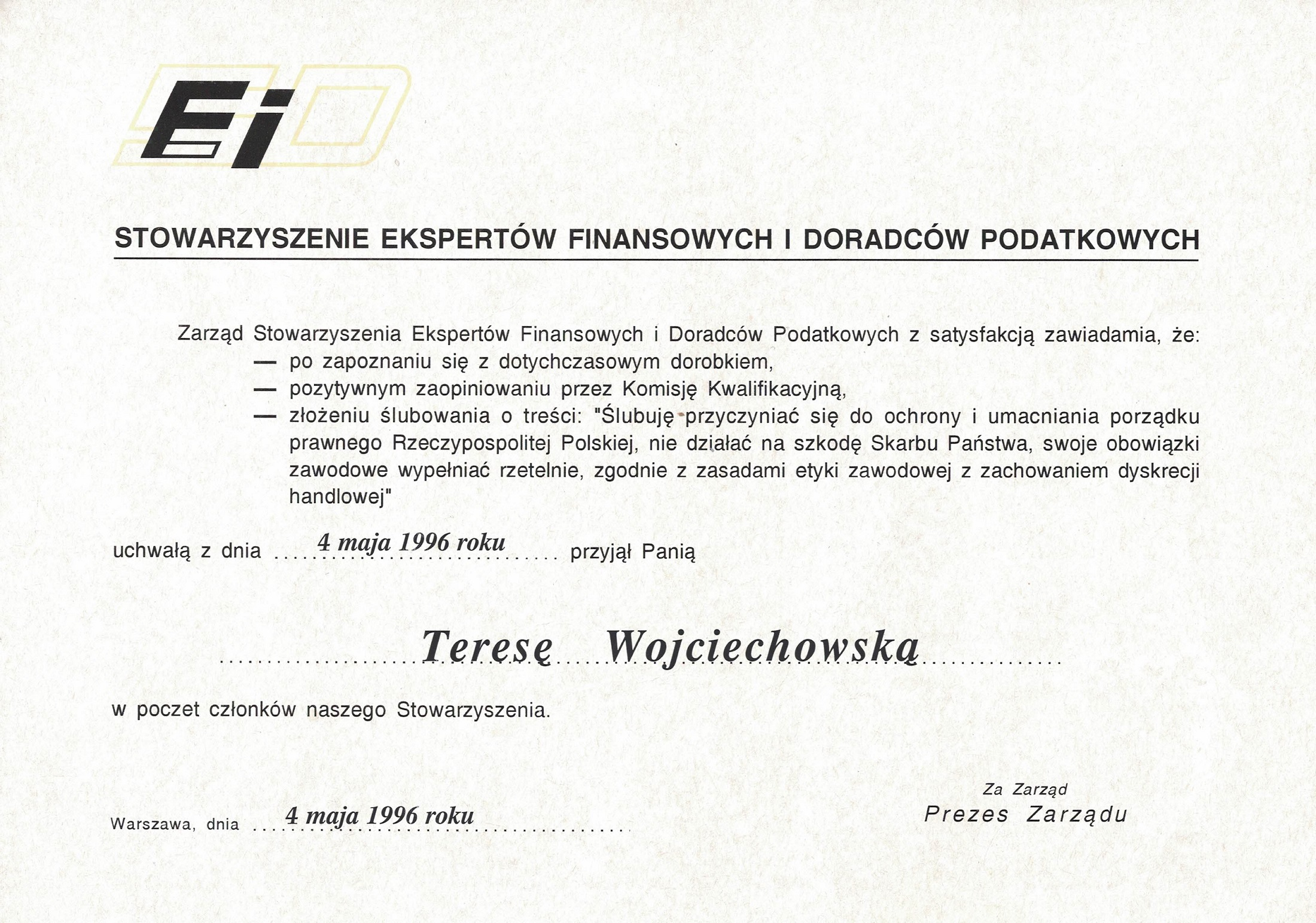 Certyfikat Kancelaria Prawno-Podatkowa Sekret Teresa Wojciechowska