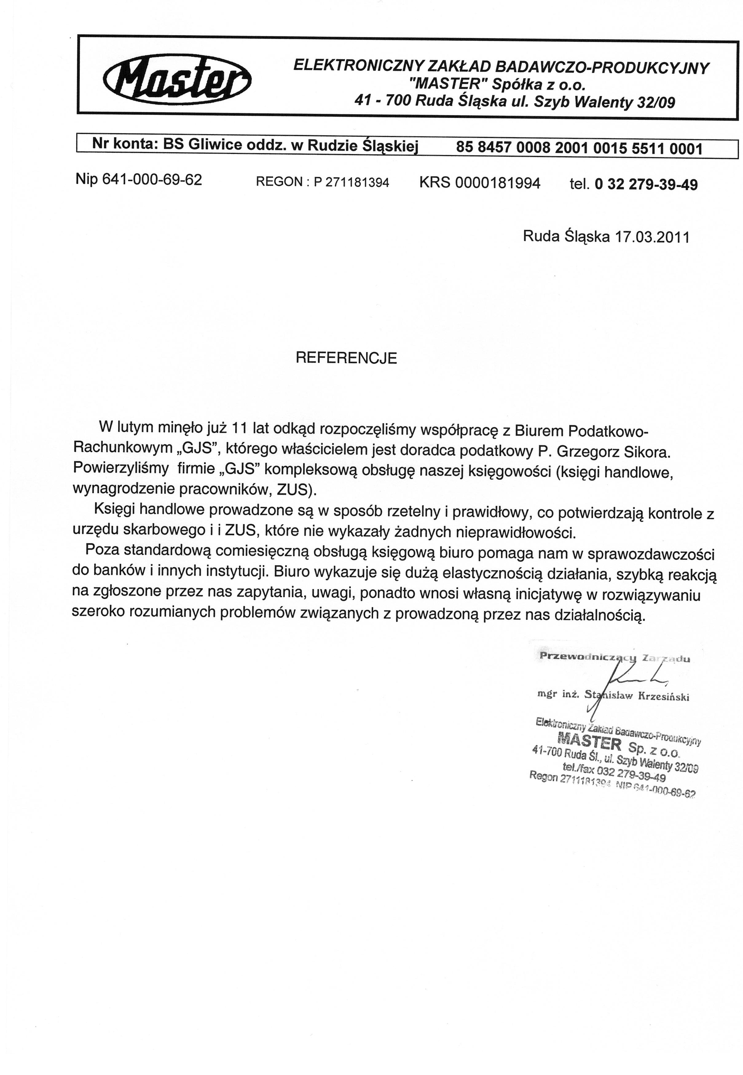 """Referencje Kancelaria Doradztwa Podatkowego """"GJS"""" Grzegorz Sikora"""