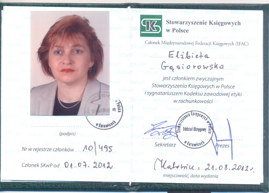 Certyfikat Biuro Rachunkowe Elżbieta Gąsiorowska