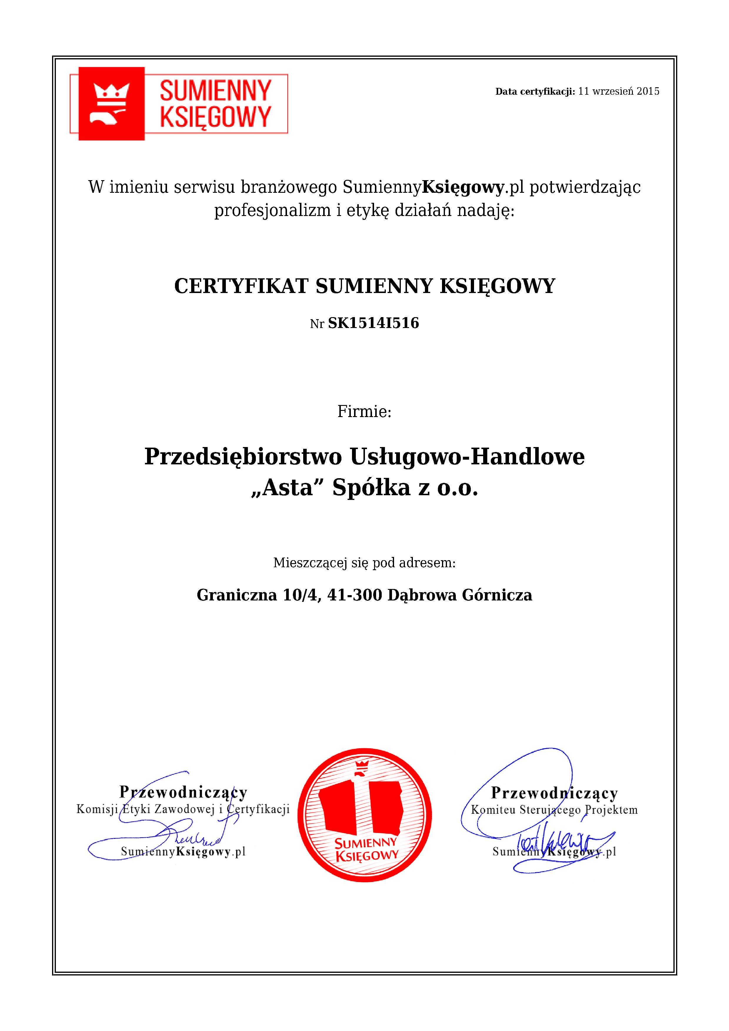 """Certyfikat Przedsiębiorstwo Usługowo-Handlowe """"Asta"""" Spółka z o.o."""
