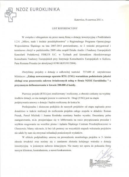 """Referencje Kancelaria Podatkowa """"Fiskus"""" s.c. Grażyna Micińska, Krystyna Rajter"""