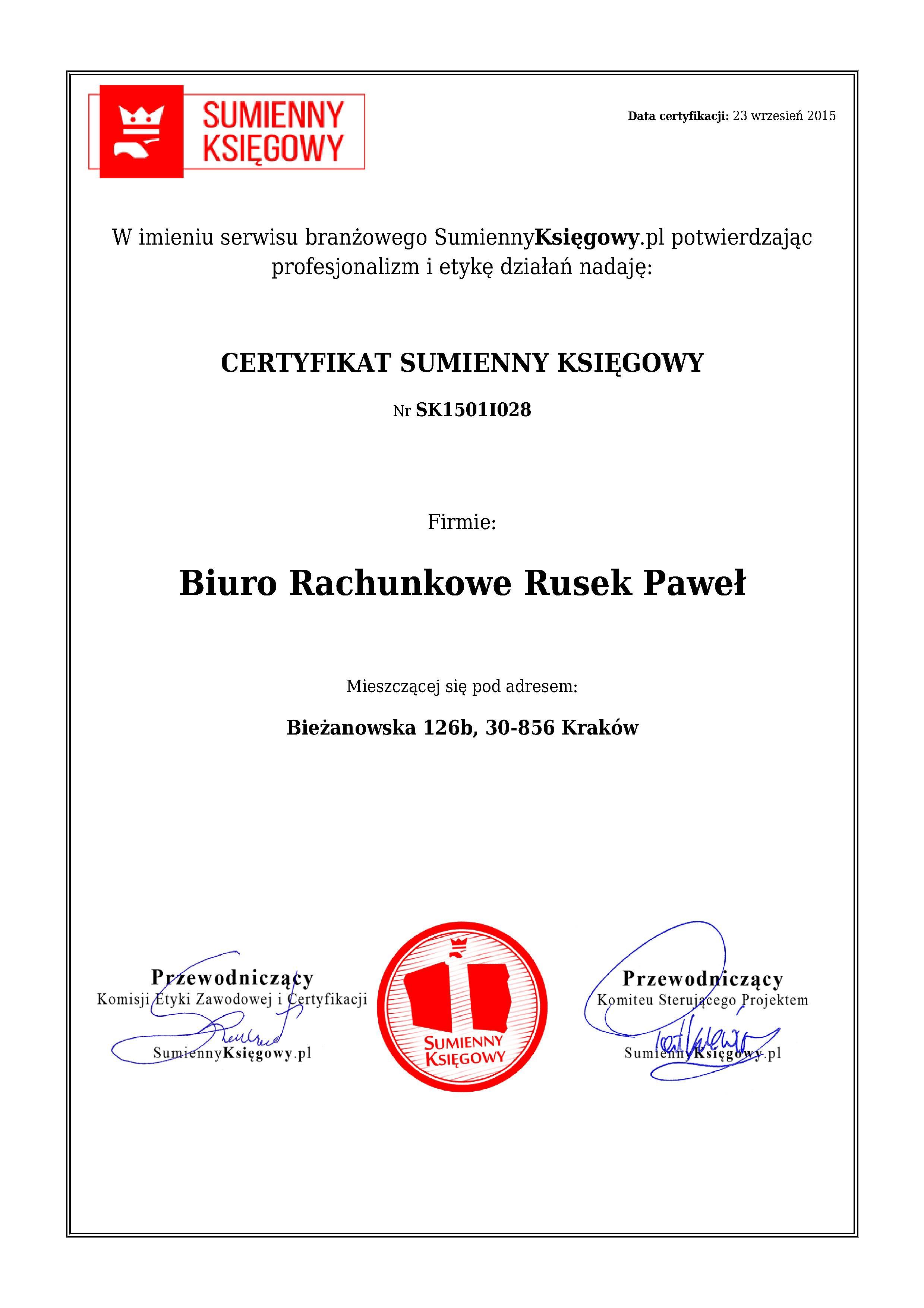 Certyfikat Biuro Rachunkowe Rusek Paweł