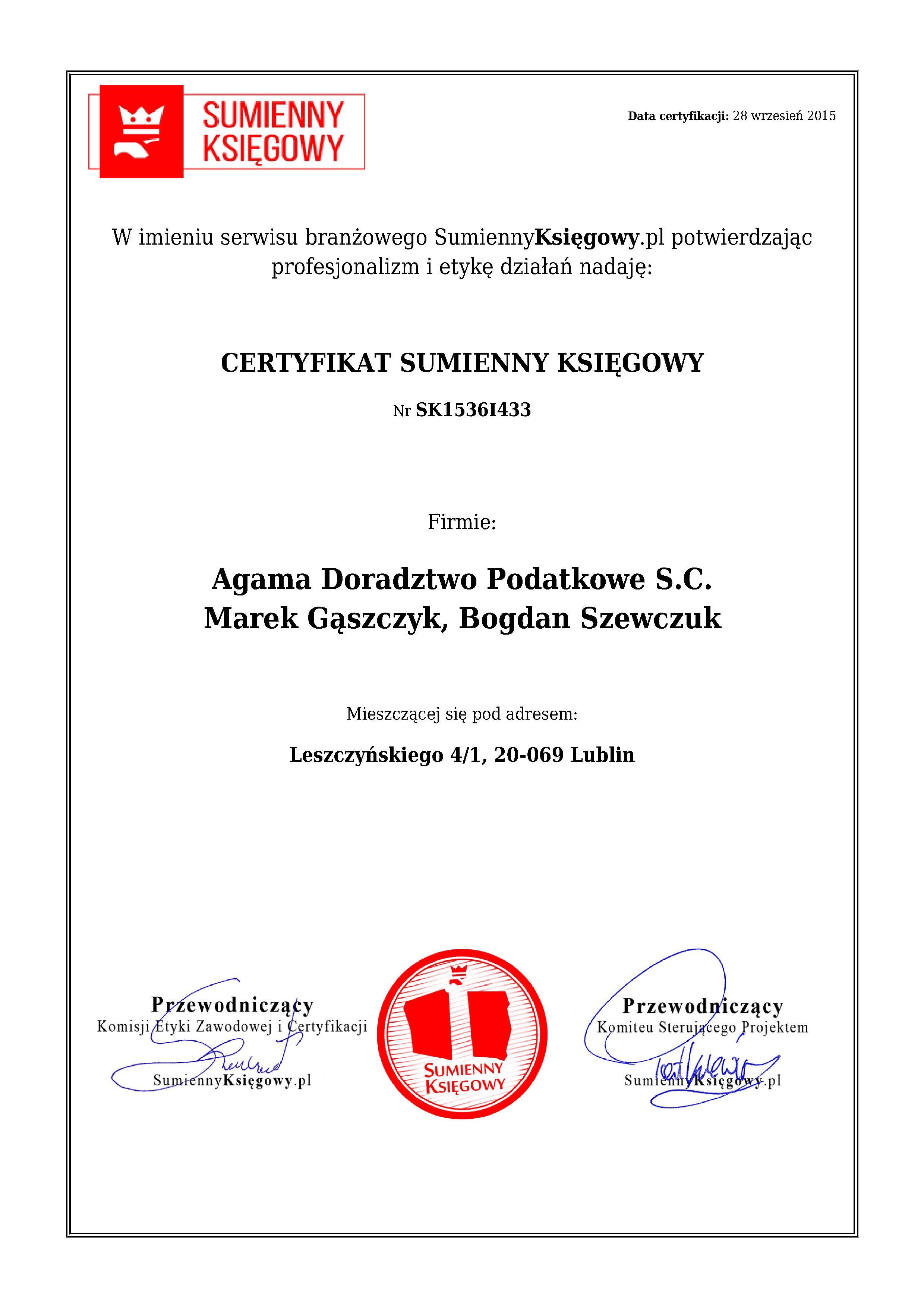 Certyfikat Agama Doradztwo Podatkowe S.C. Marek Gąszczyk, Bogdan Szewczuk