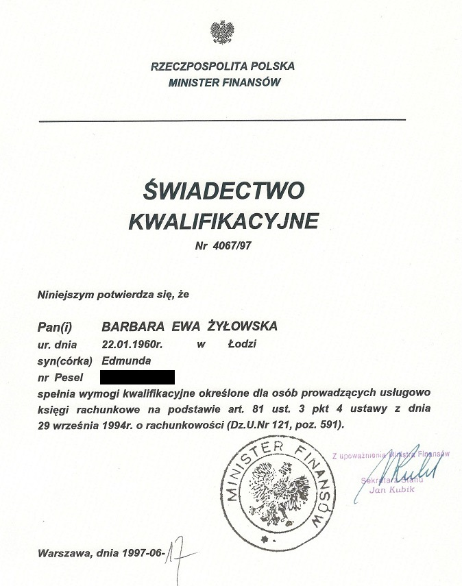 Certyfikat Biuro RachunkoweBarbara Krajewska-Żyłowska
