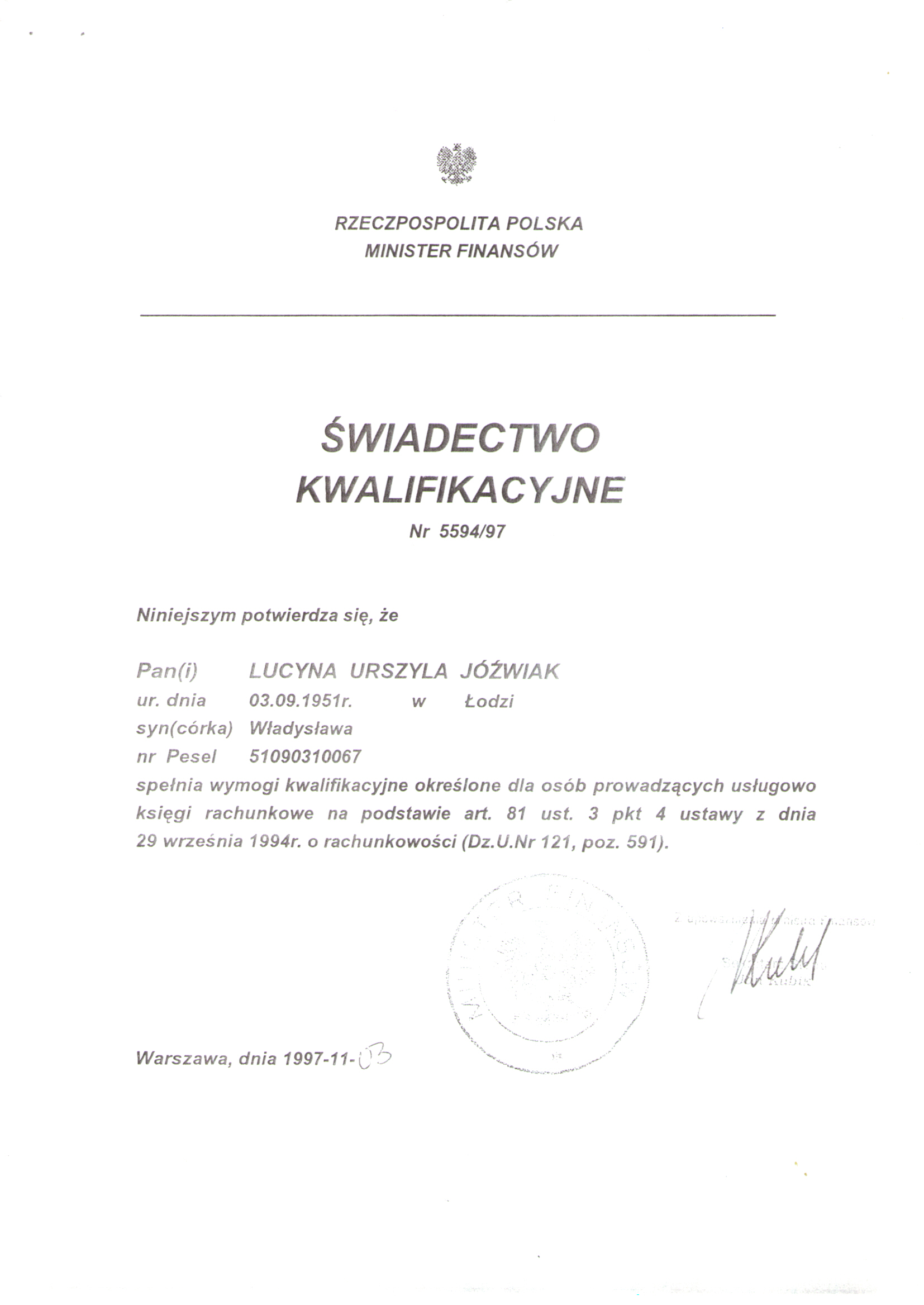 "Certyfikat ""Dekret"" Lucyna Jóźwiak"