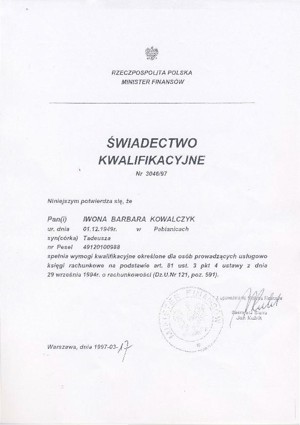 Certyfikat Mono Biuro Księgowe Iwona Kowalczyk