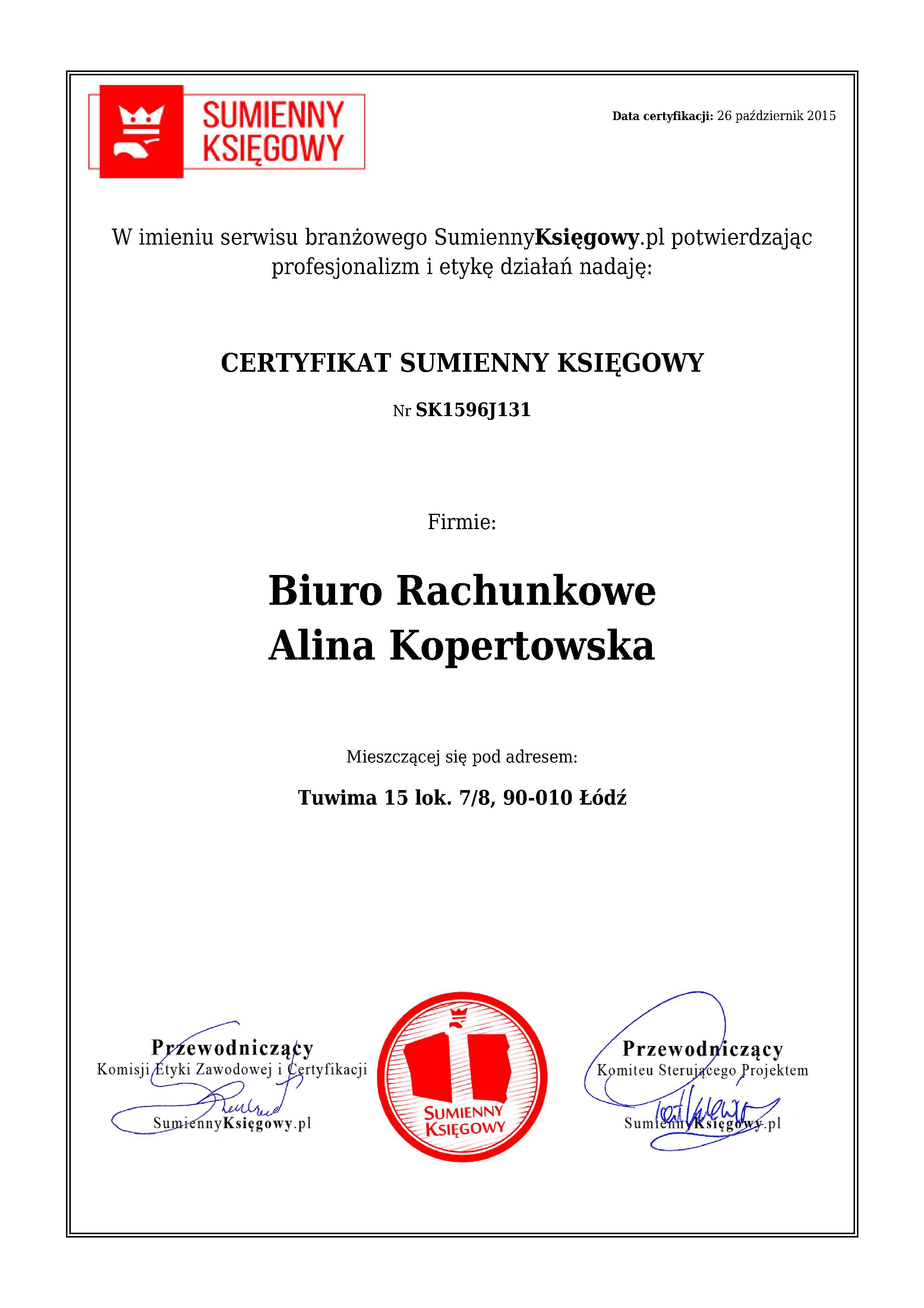 Certyfikat Biuro Rachunkowe Alina Kopertowska