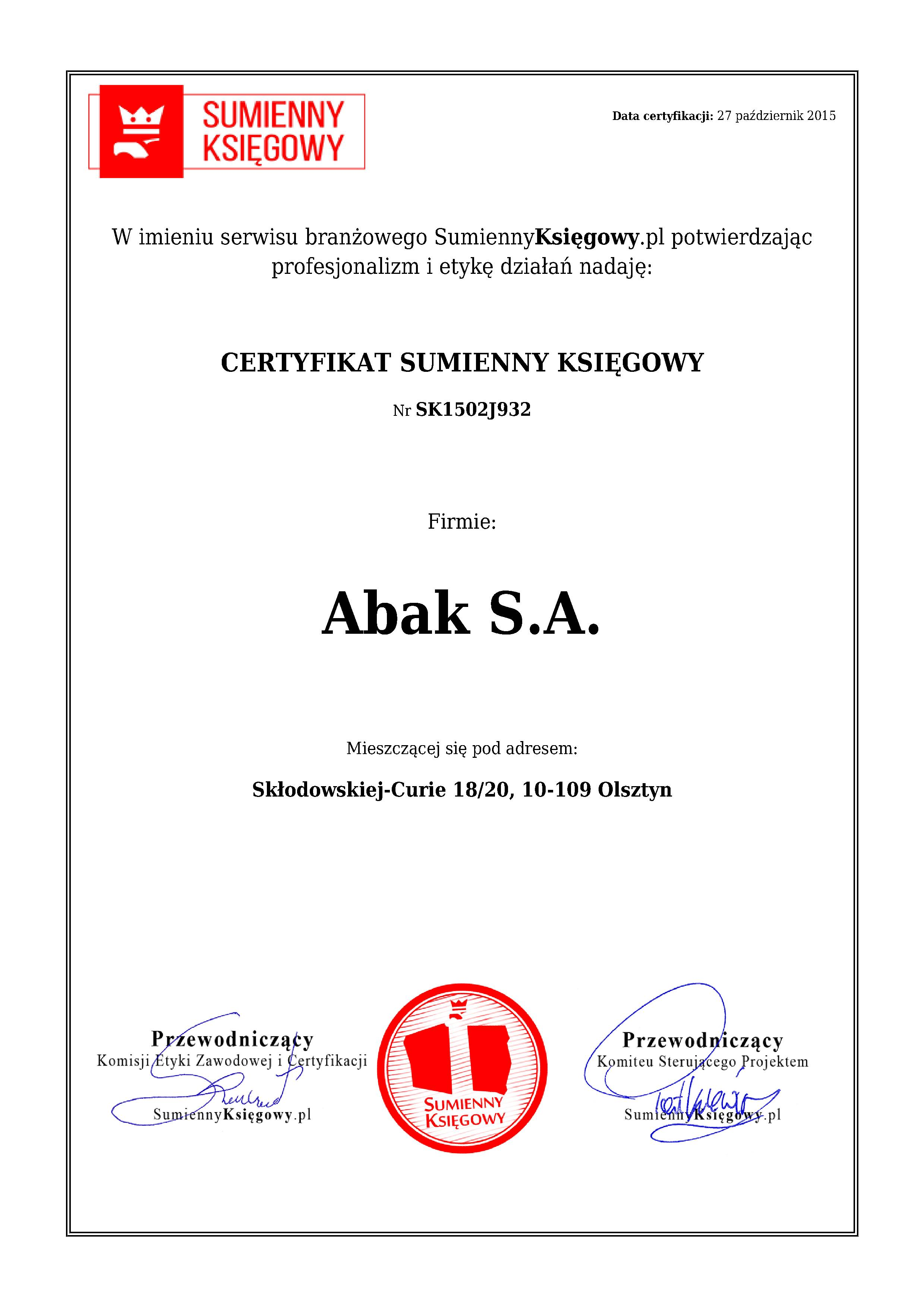 Certyfikat Abak S.A.