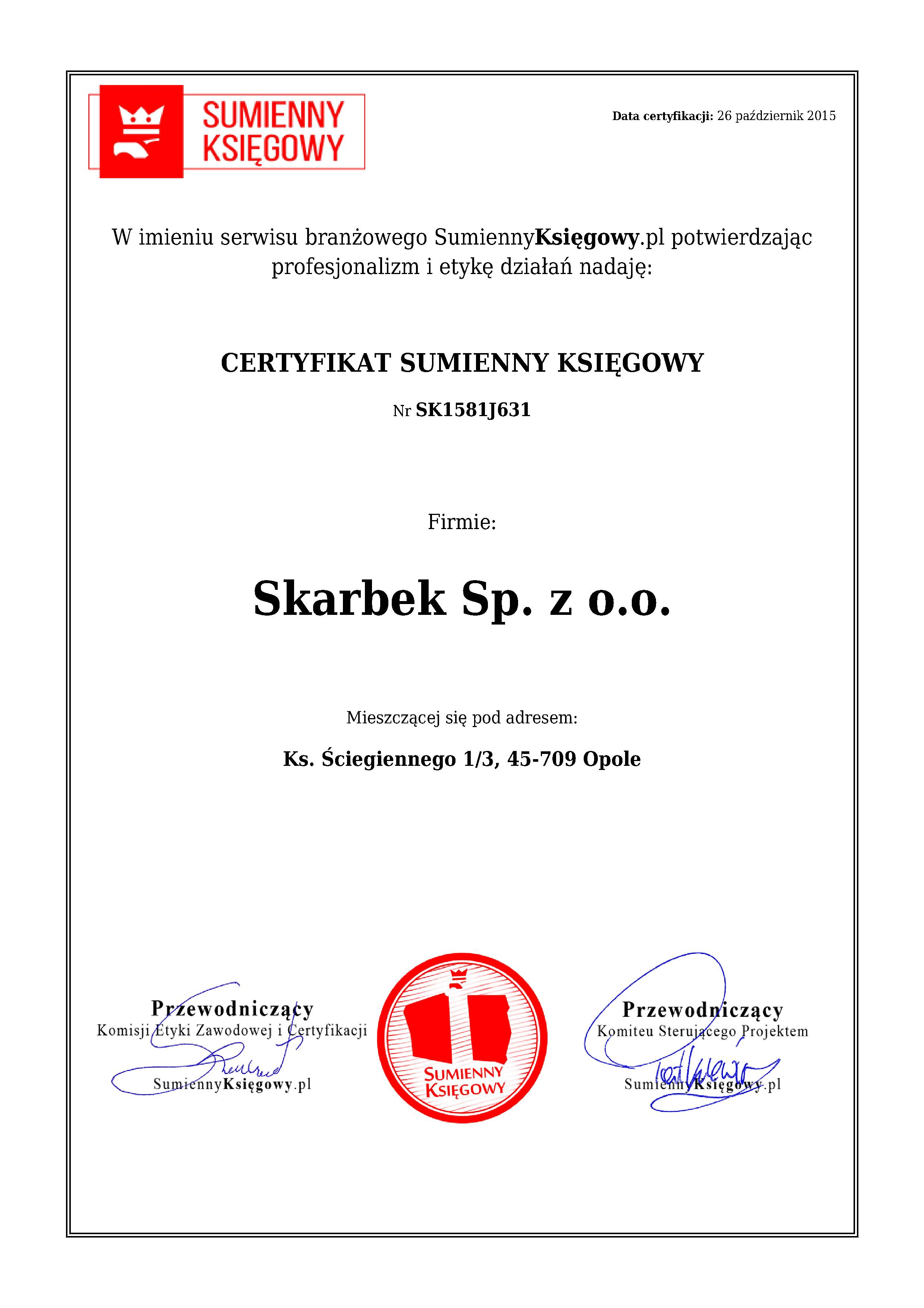 Certyfikat Skarbek Sp. z o.o.