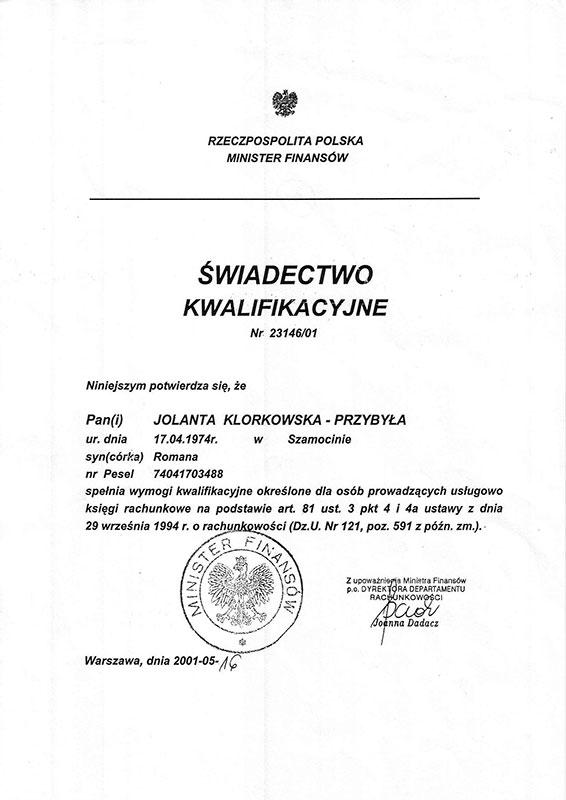 Certyfikat Kancelaria Doradztwa Podatkowego i Rachunkowości Noblesse Jolanta Klorkowska-Przybyła