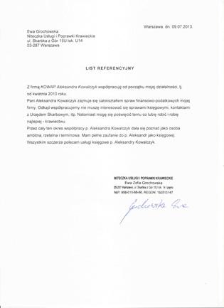 Zobacz referencje KOWAP Aleksandra Kowalczyk