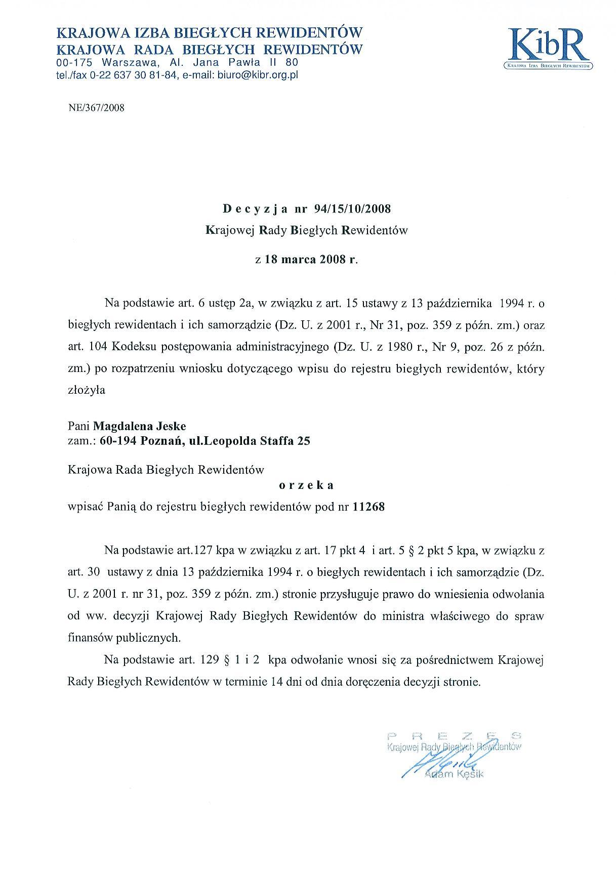Certyfikat Biuro Rachunkowe Magdalena Jeske Biegły Rewident