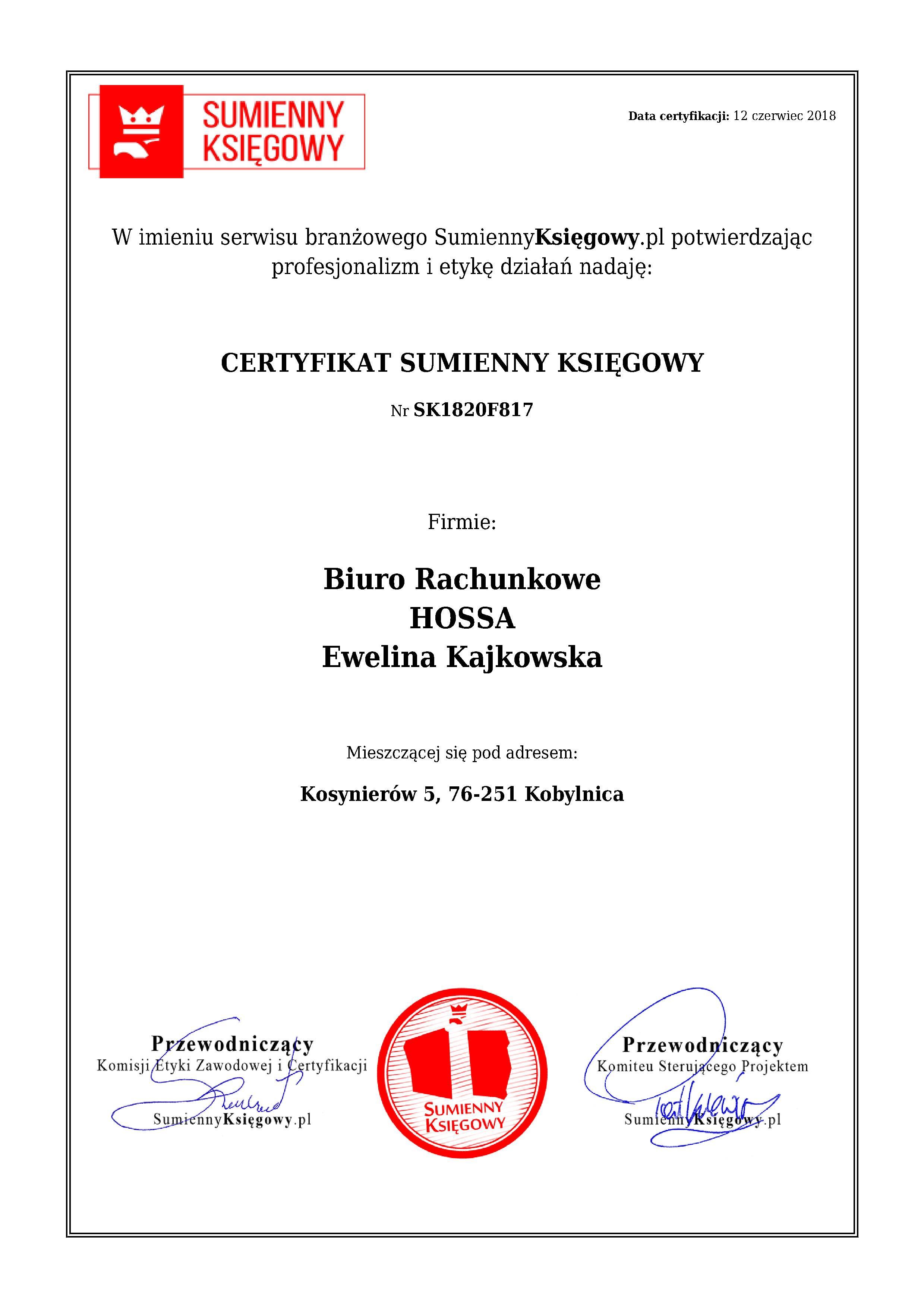 Certyfikat Biuro Rachunkowe HOSSA Ewelina Kajkowska