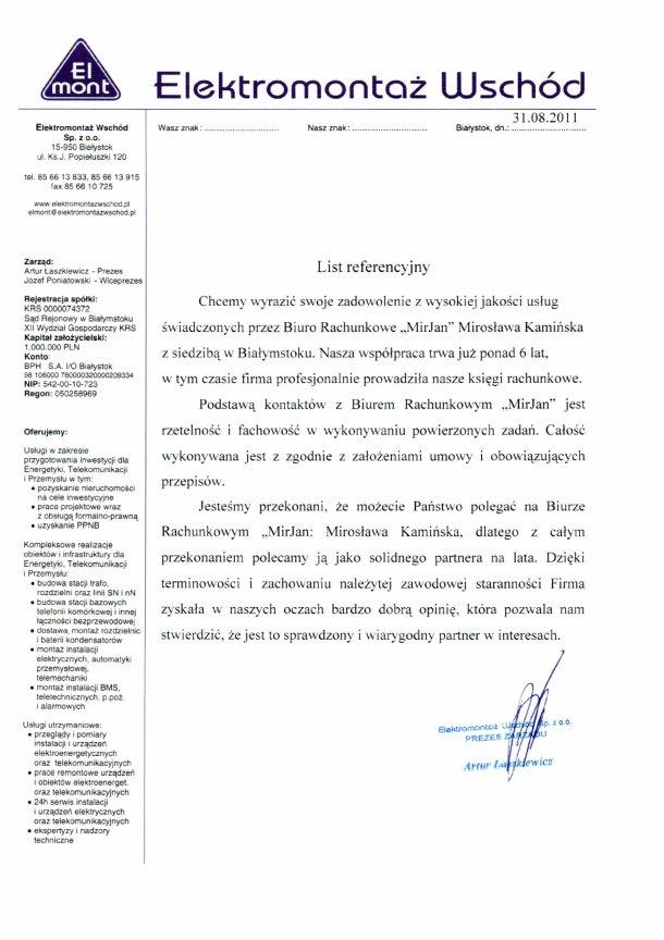 """Zobacz referencje Biuro Rachunkowe """"MirJan"""" Mirosława Kamińska"""