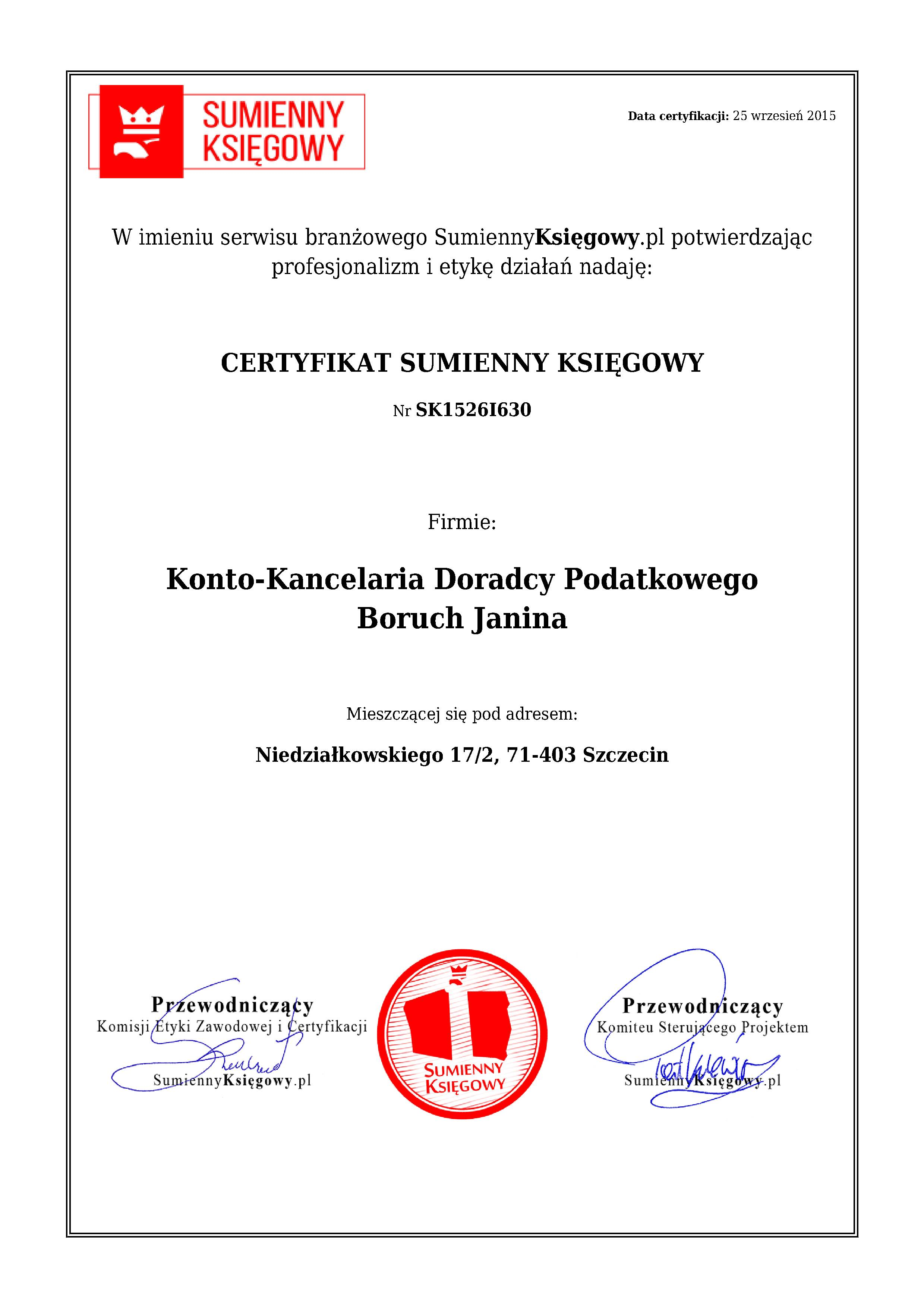 Certyfikat Konto-Kancelaria Doradcy Podatkowego Boruch Janina