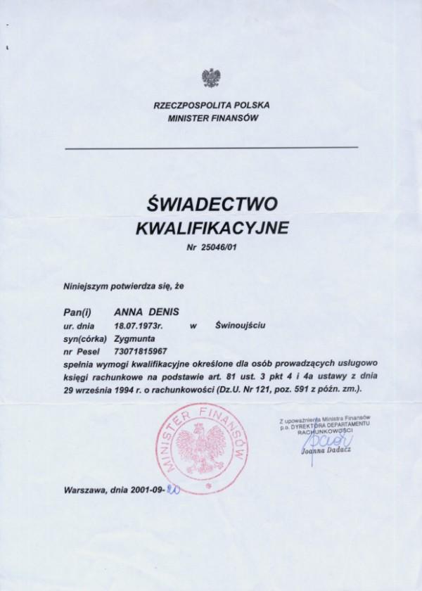 Certyfikat Tax & Finance Biuro Rachunkowe Anna Denis