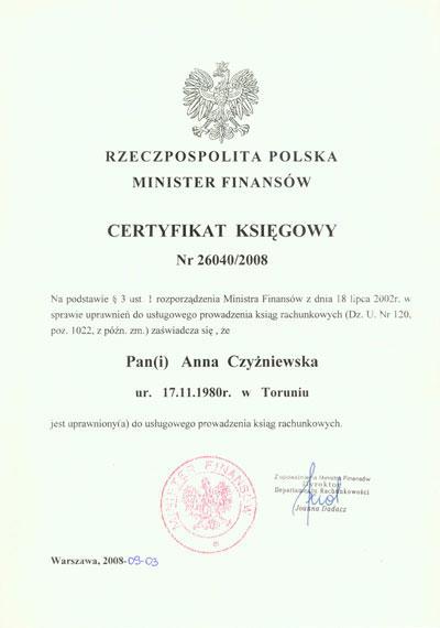 Certyfikat Biuro ANIMAR Anna Walicka